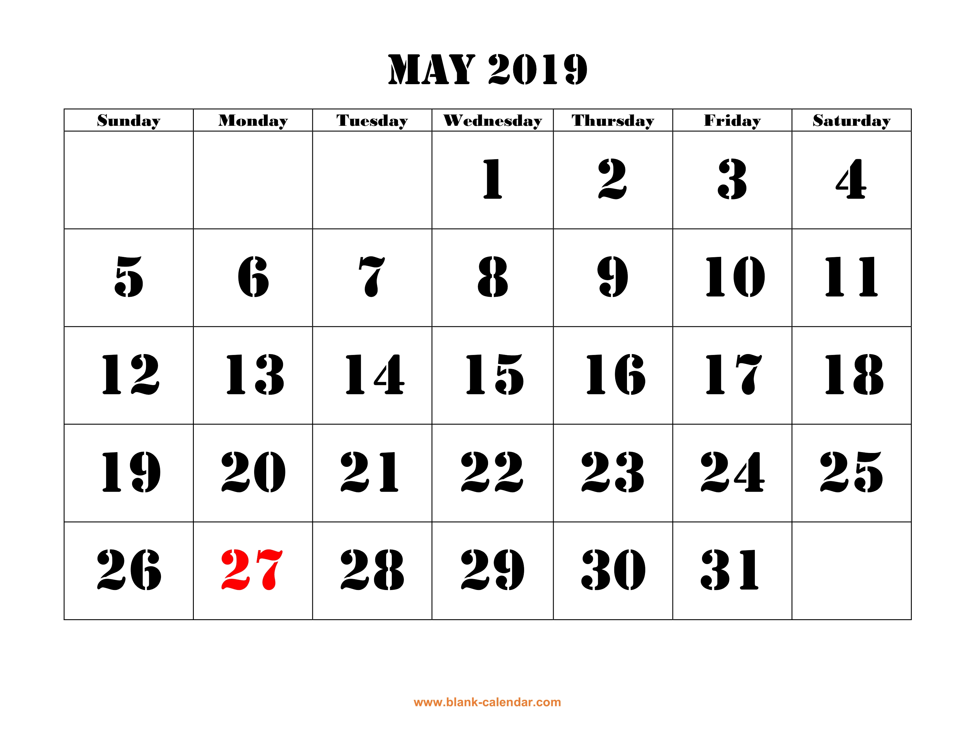 photograph about Printable May Calendars named Totally free Down load Printable May possibly 2019 Calendar, superior font design and style