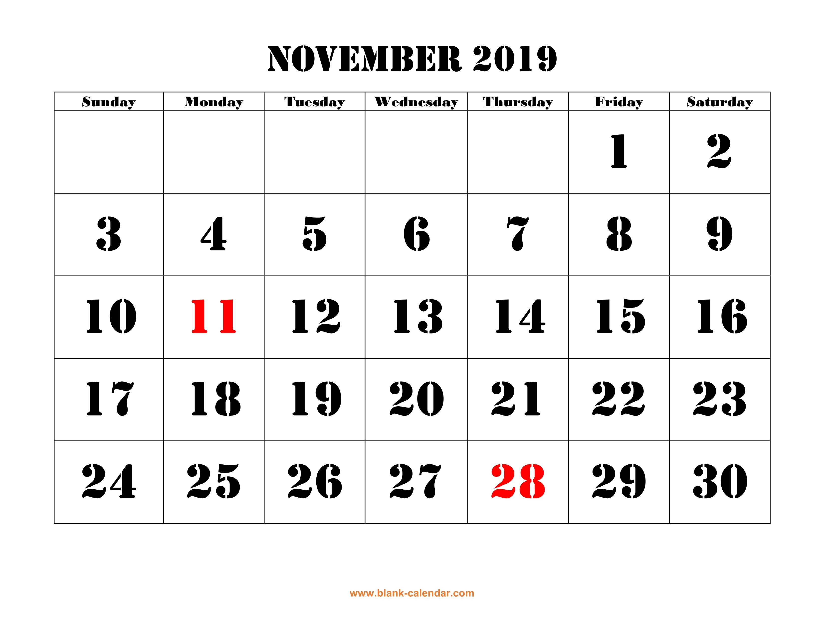 photograph relating to Calendar With Holidays Printable named Totally free Down load Printable November 2019 Calendar, substantial font