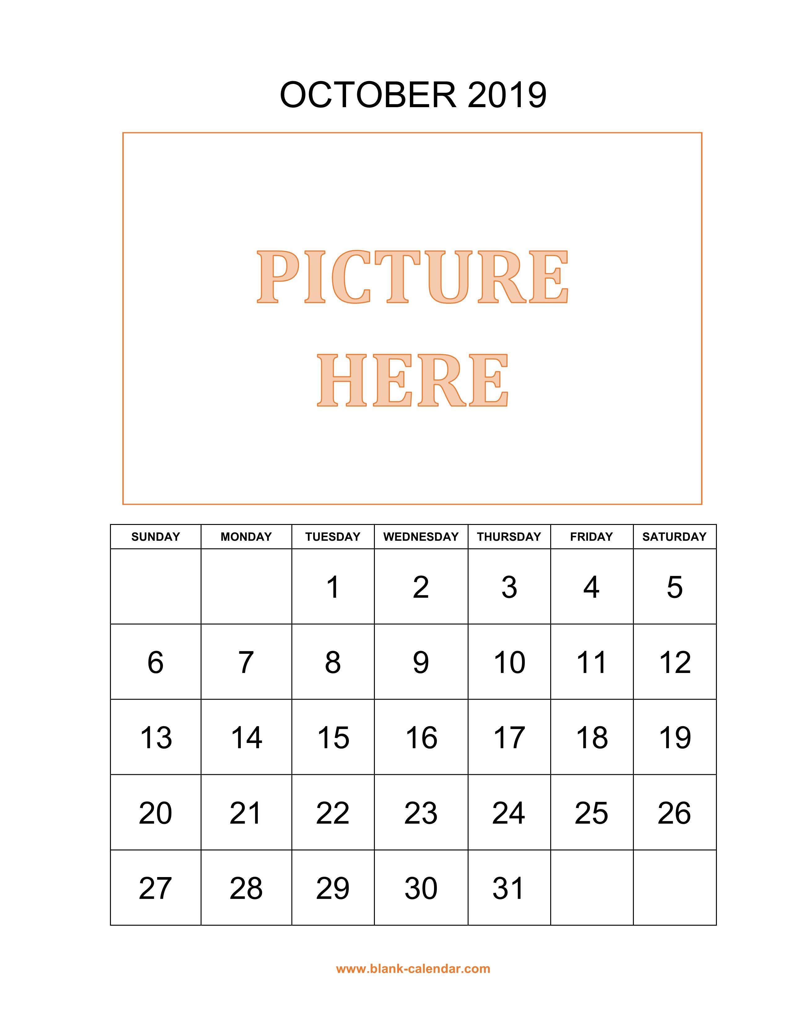 printable october calendar