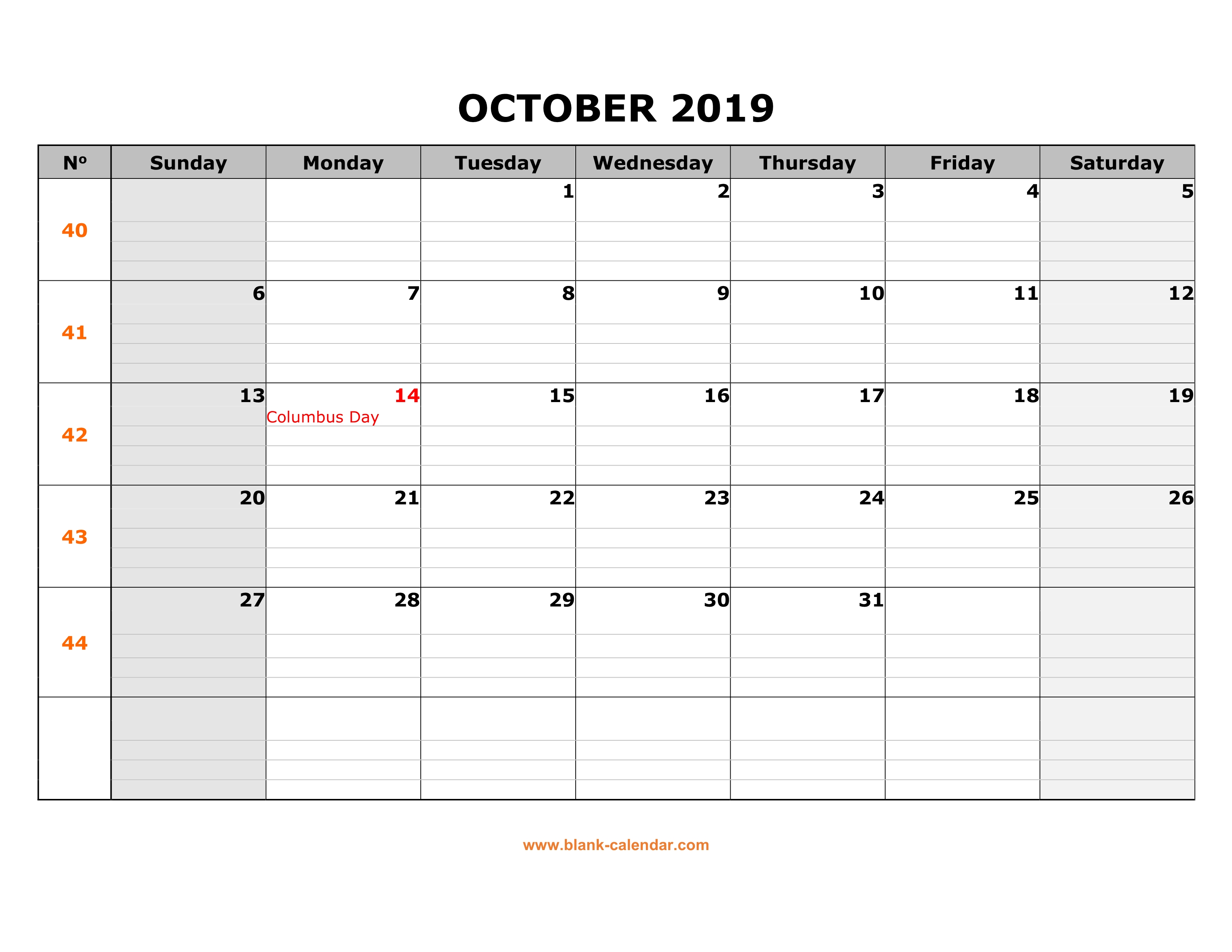 Free Download Printable October 2019 Calendar Large Box Grid Space
