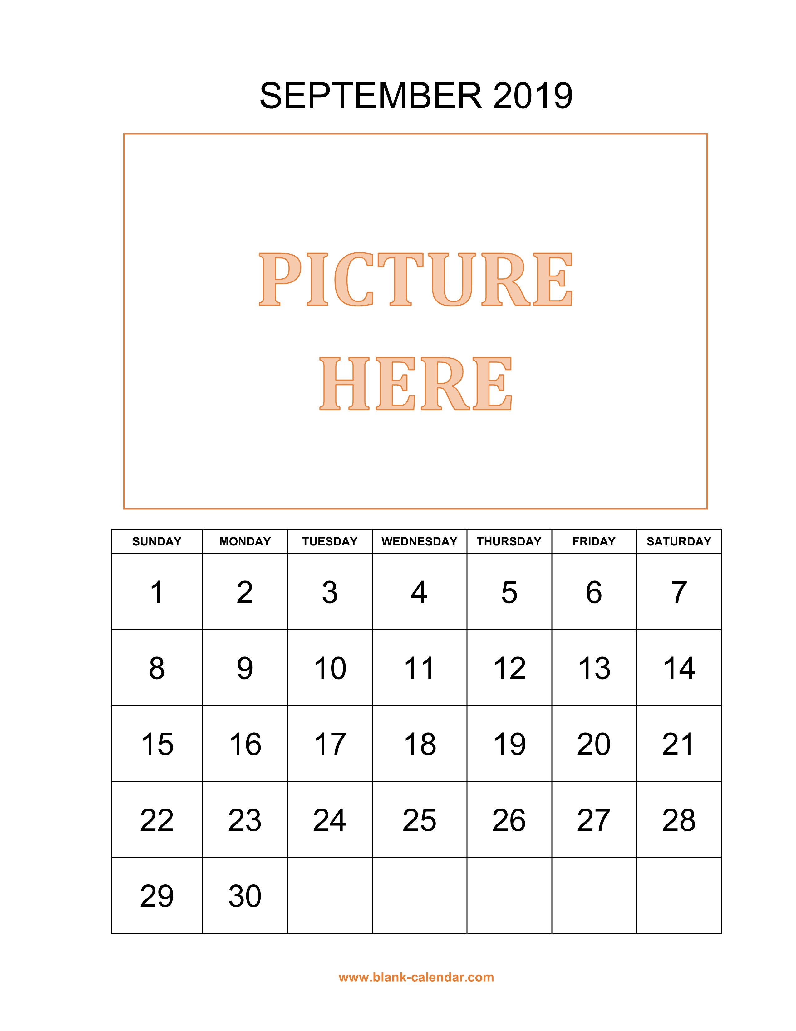 Free Download Printable September 2019 Calendar Pictures Can Be