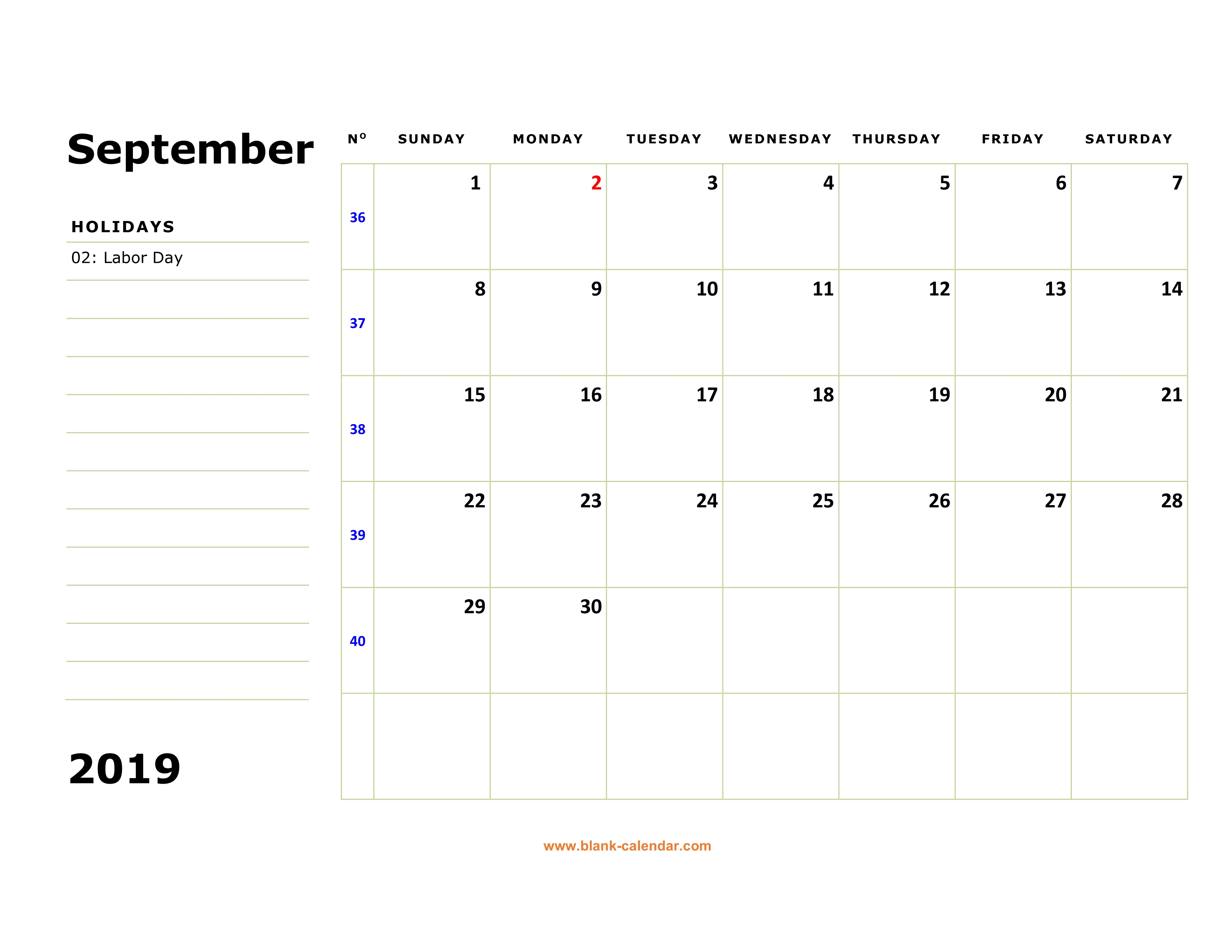 Free Download Printable September 2019 Calendar Large Box Holidays