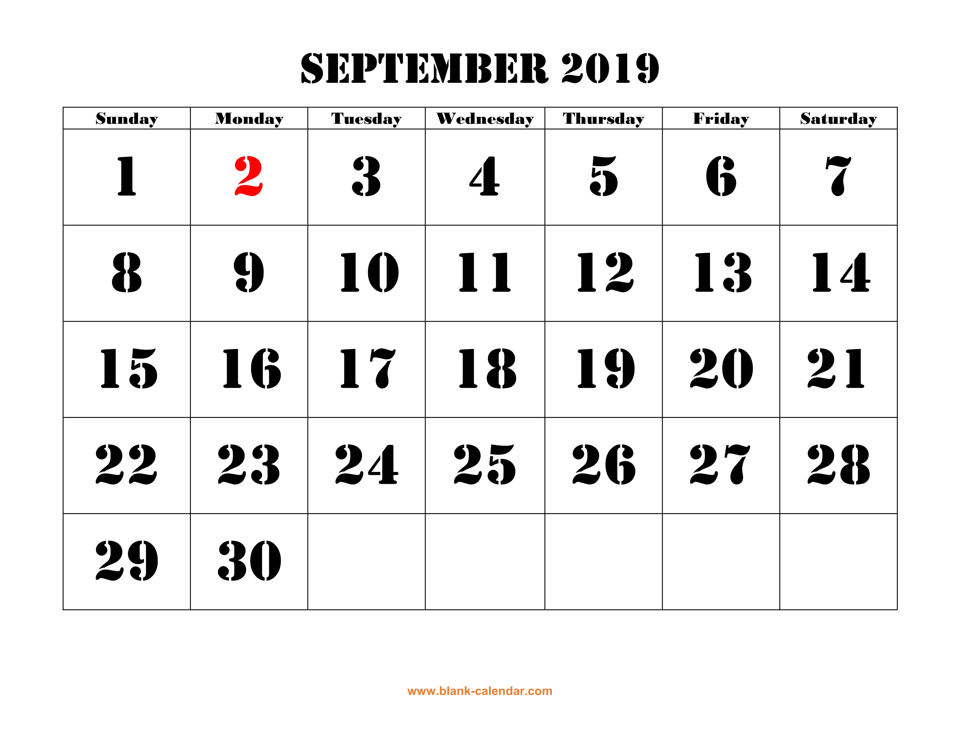 graphic about Calendar With Holidays Printable known as Cost-free Obtain Printable September 2019 Calendar, superior font