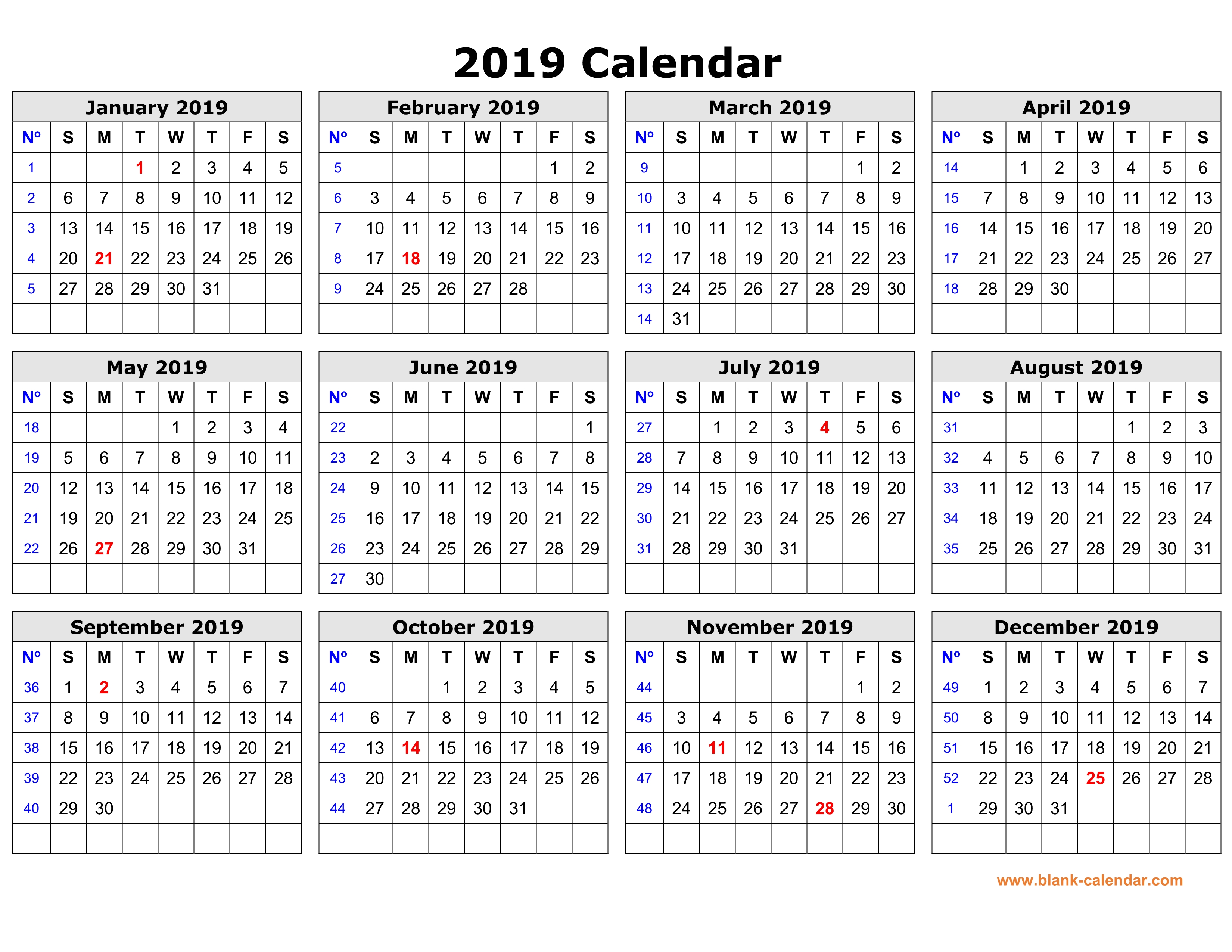 calendars 2019 free printable - Parfu kaptanband co