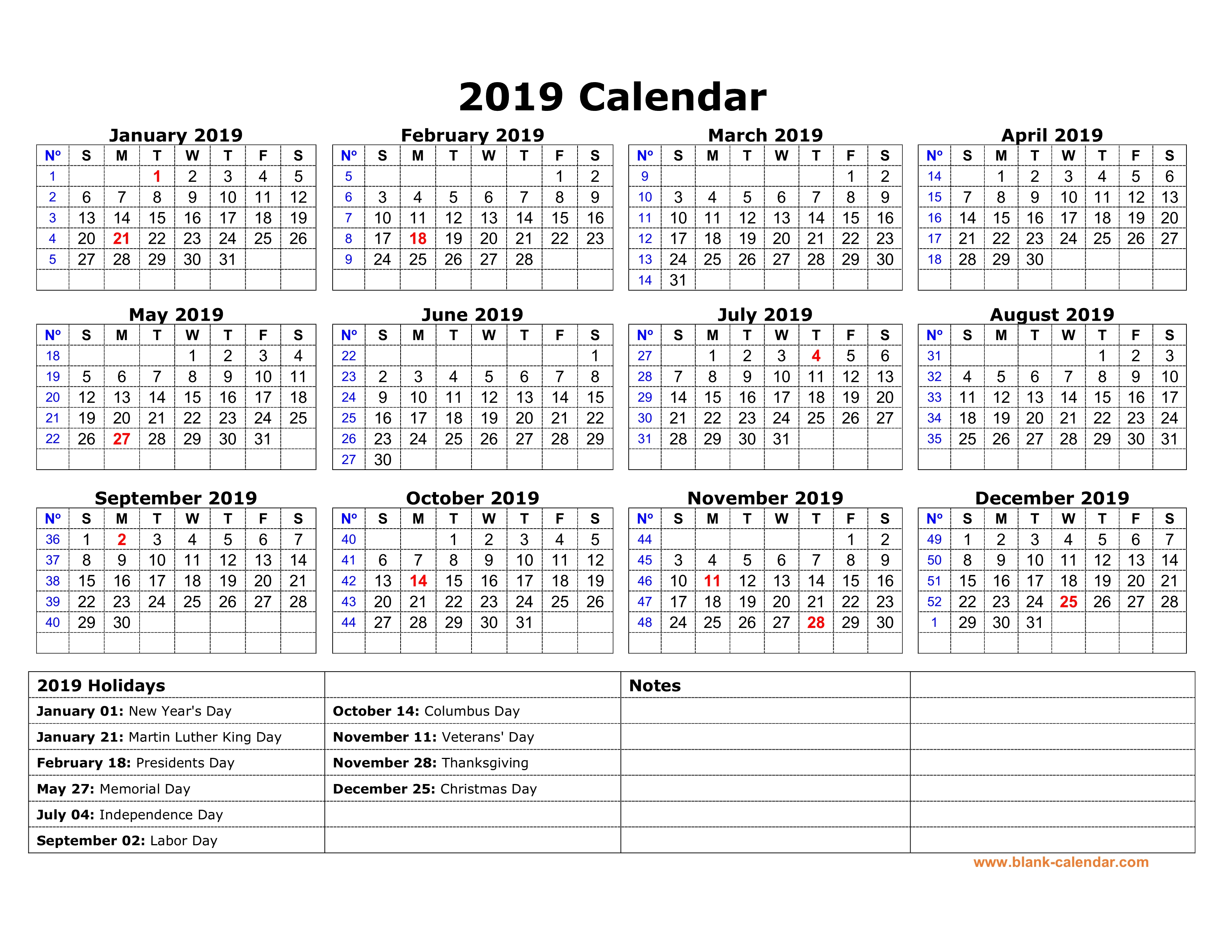 free download printable calendar 2019 with us federal holidays one page horizontal