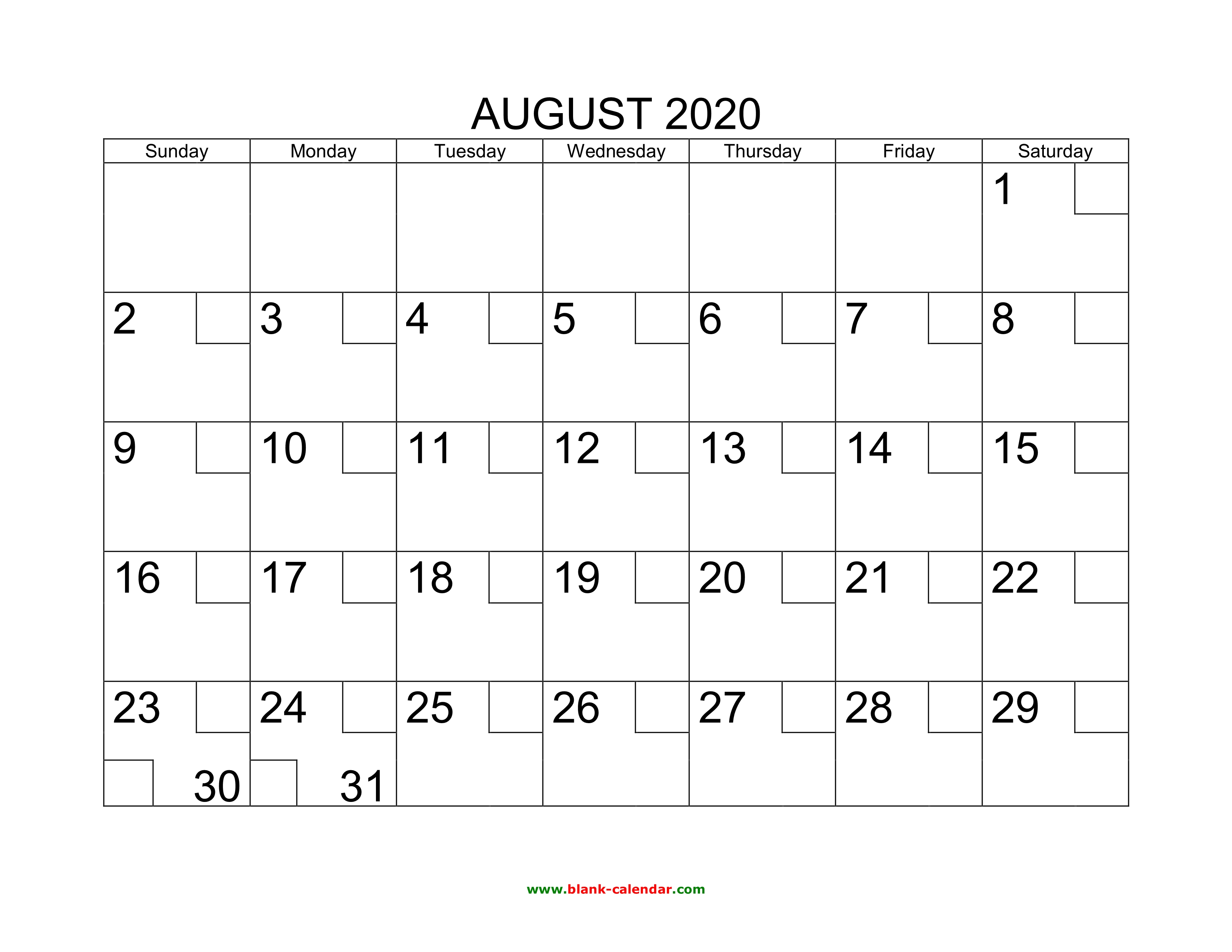 Blank Calendar August 2020.Free Download Printable August 2020 Calendar With Check Boxes