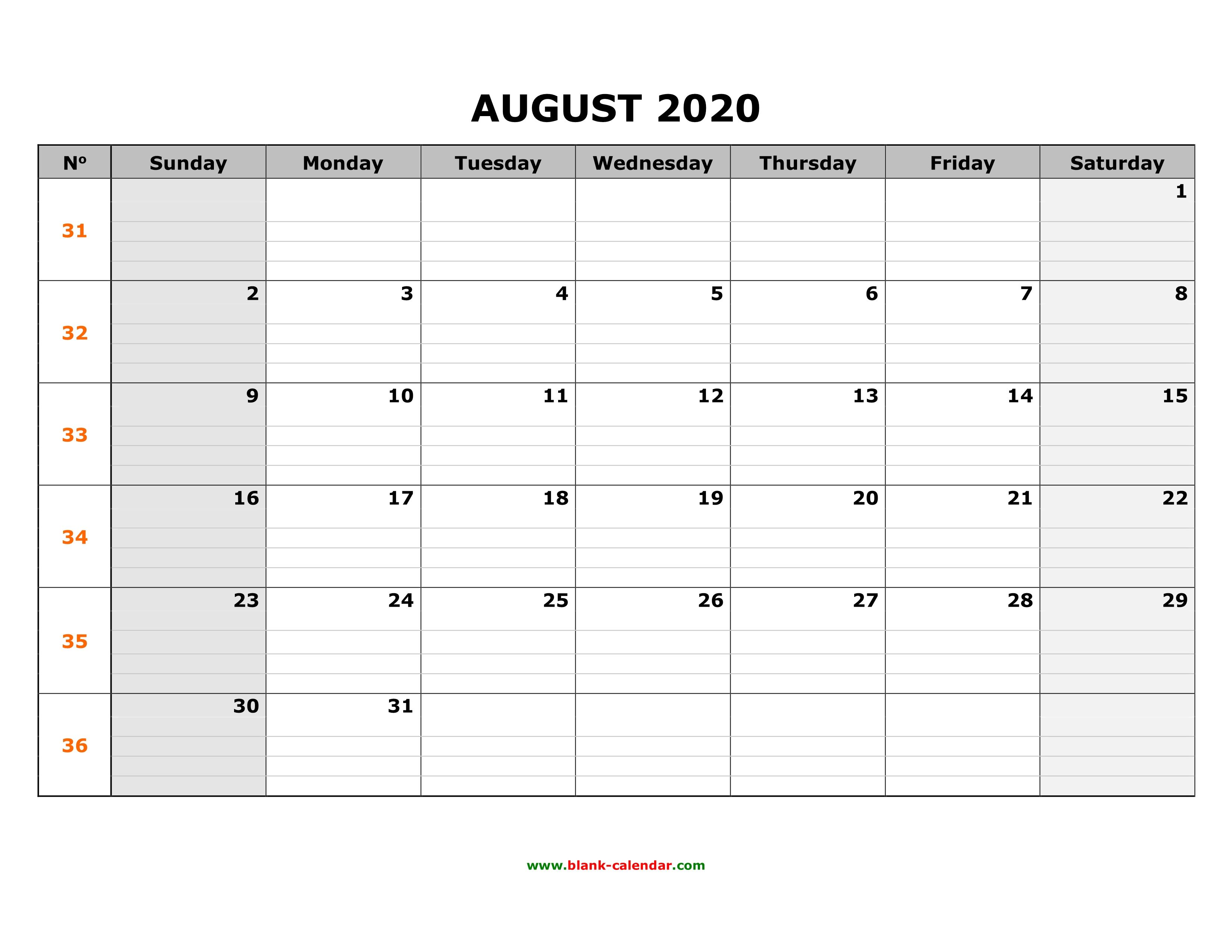 Blank Calendar August 2020.Free Download Printable August 2020 Calendar Large Box Grid Space