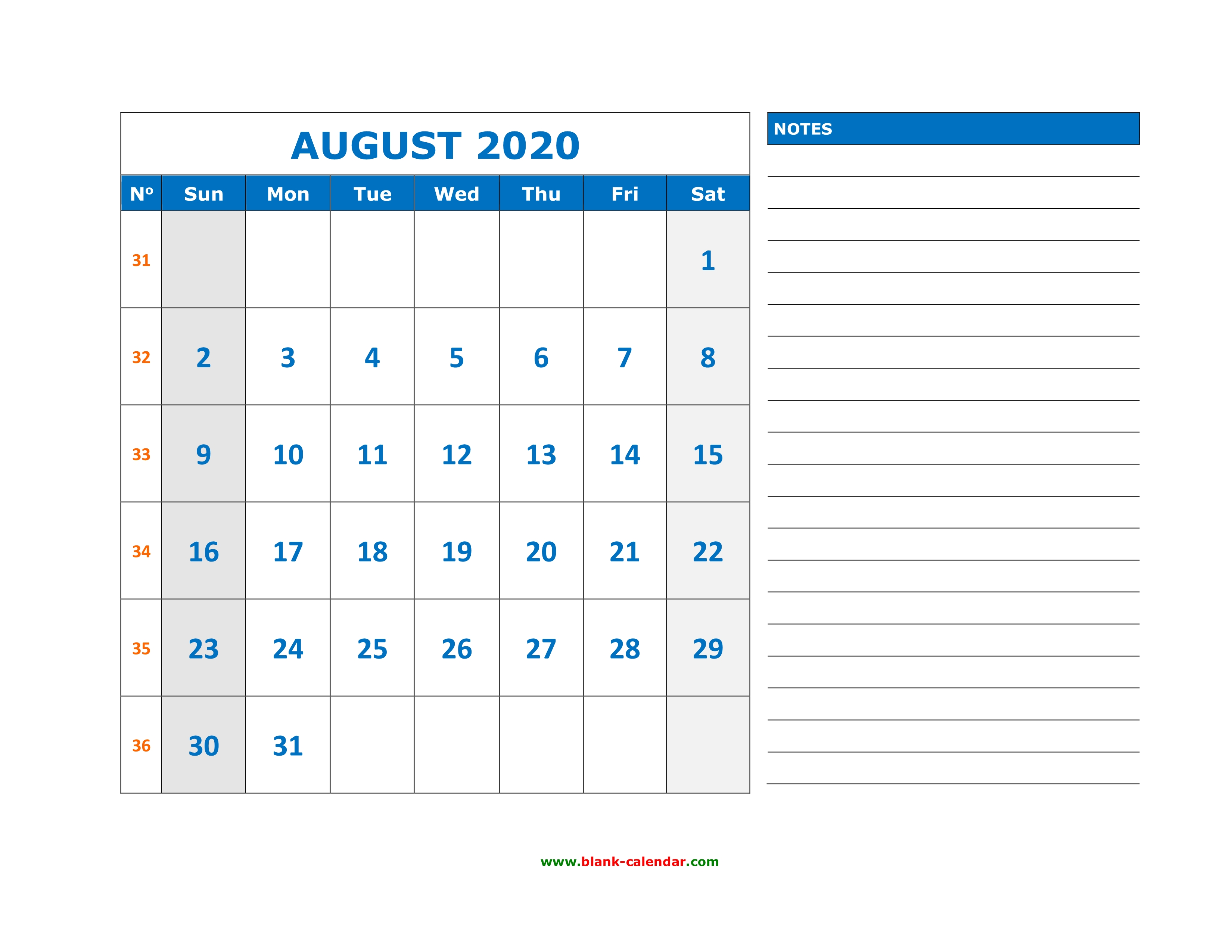 Calendar August 2020 Printable.Free Download Printable August 2020 Calendar Large Space For