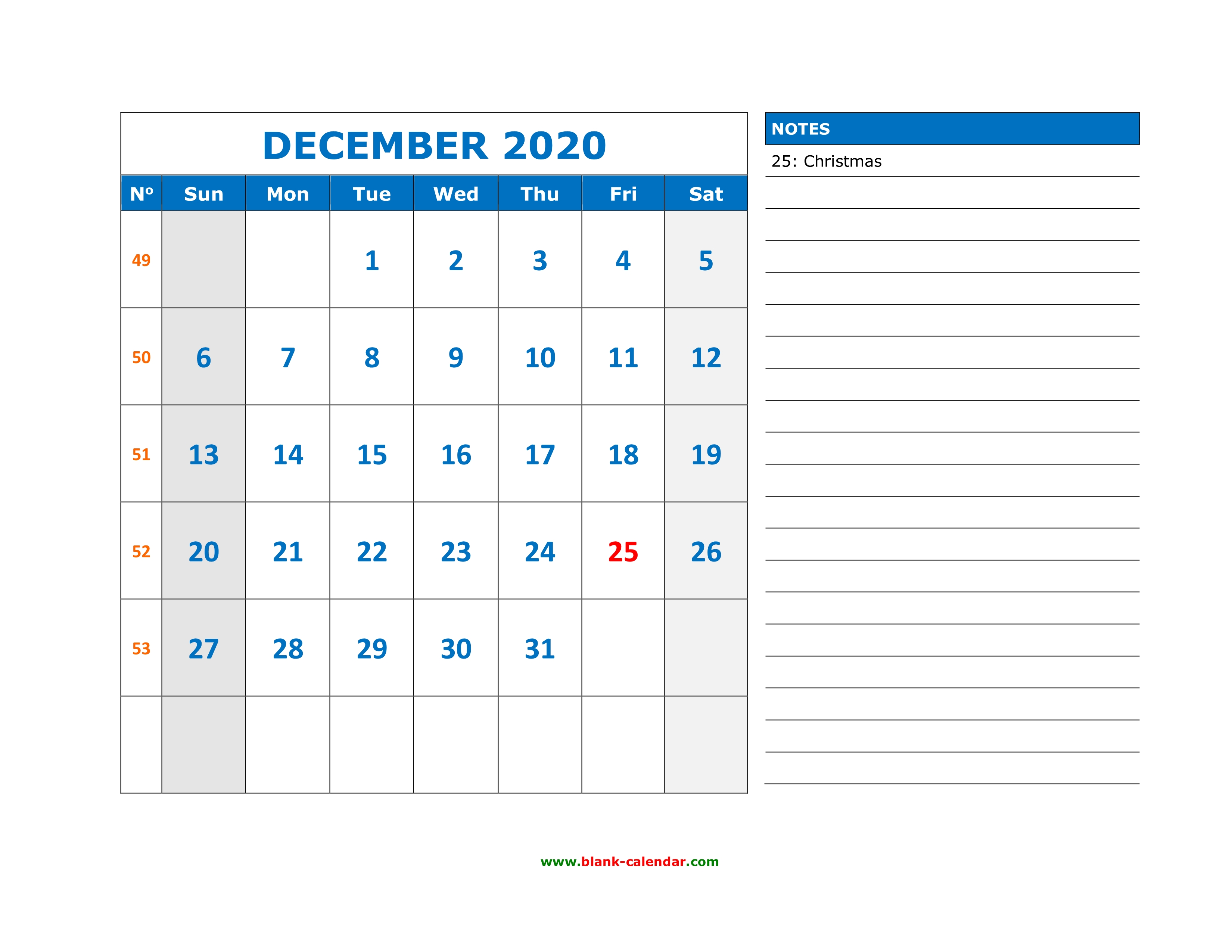 December 2020 Printable Calendar Space For Notes Included Free Download Printable December 2020 Calendar, large space for