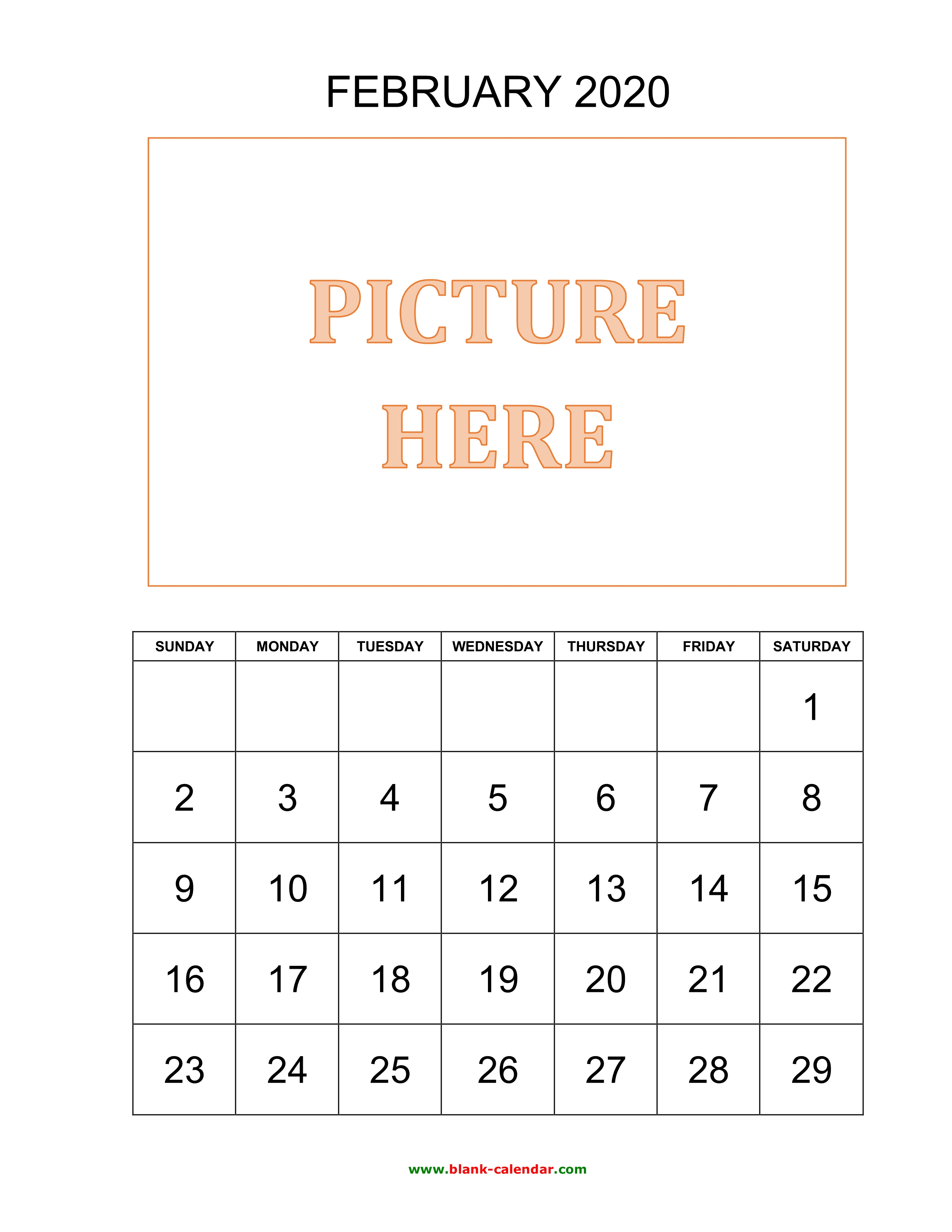 February 2020 Print-A Calendarcom Free Download Printable February 2020 Calendar, pictures can be