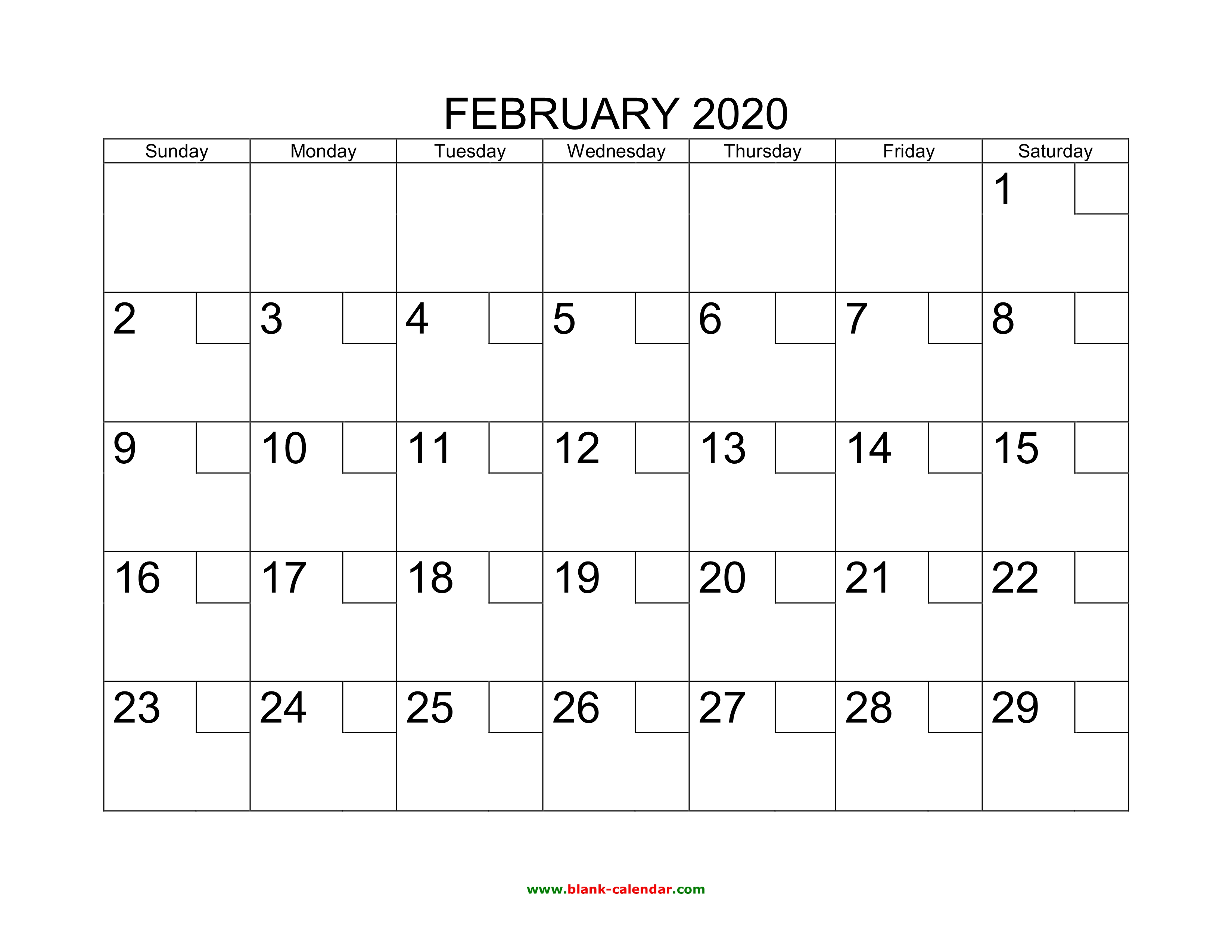 picture about Printable Feb Calender known as Free of charge Down load Printable February 2020 Calendar with examine containers