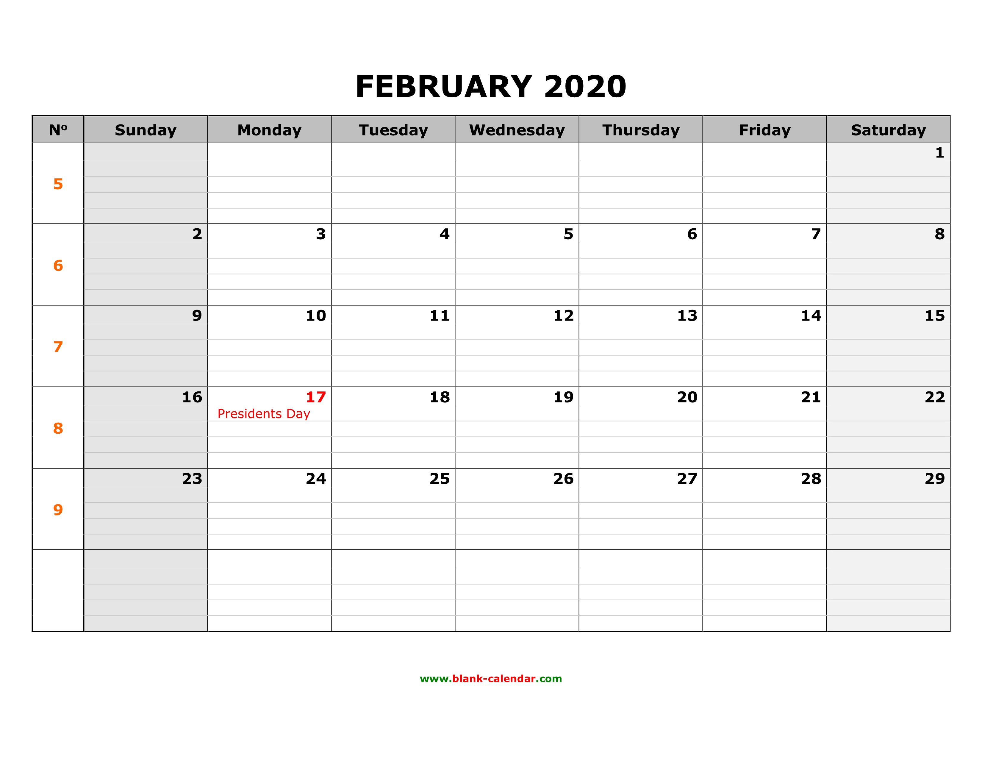 February Calendar 2020 Grid Free Download Printable February 2020 Calendar, large box grid