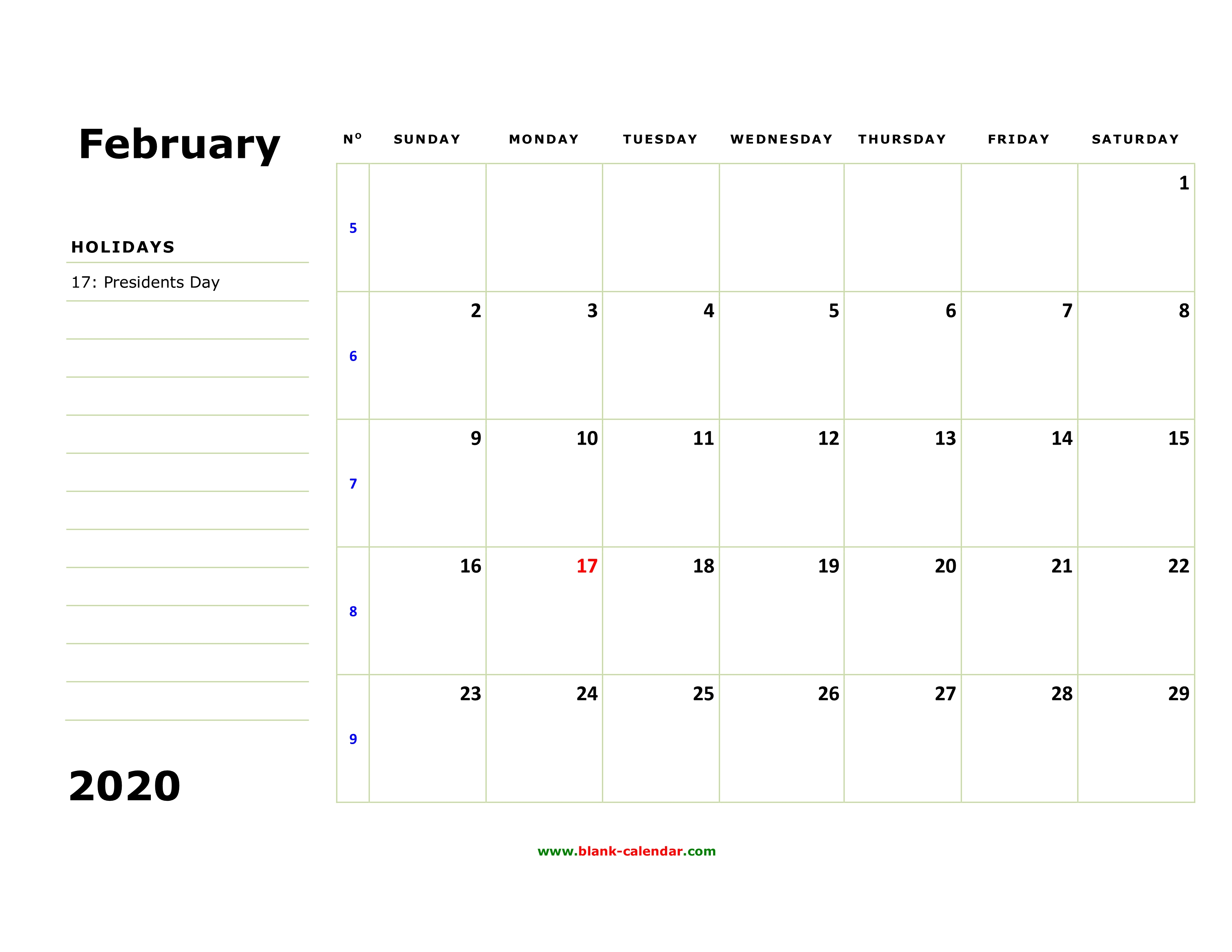 Free February 2020 Calendar Large Spaces Free Download Printable February 2020 Calendar, large box