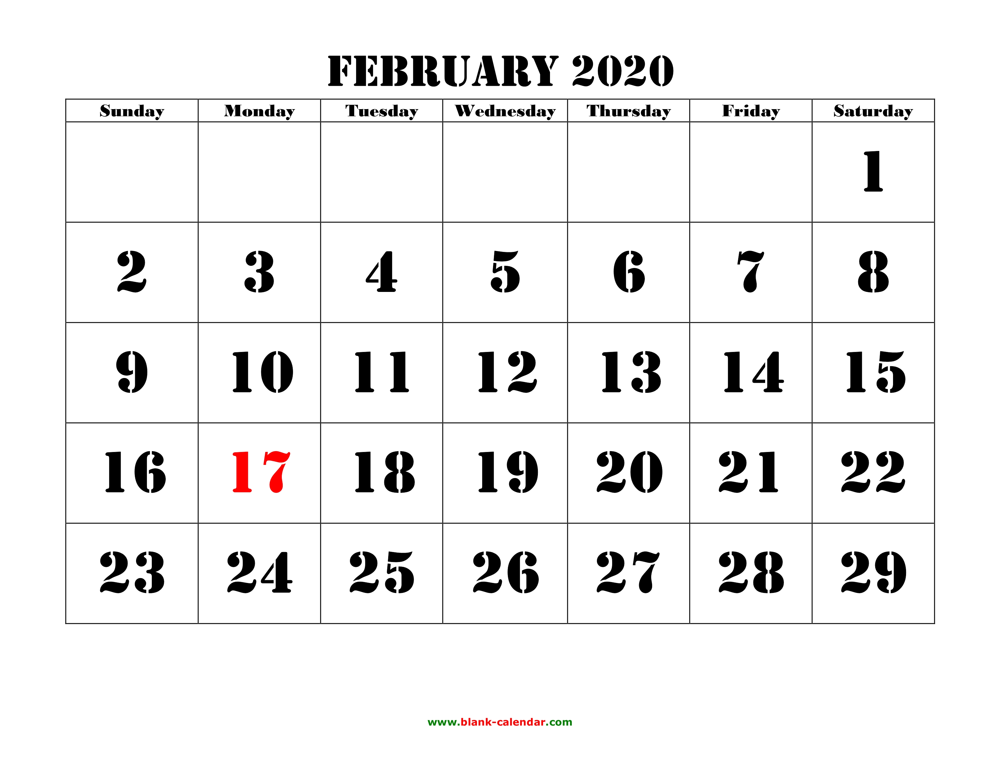 February 2020 Print-A Calendarcom Free Download Printable February 2020 Calendar, large font design