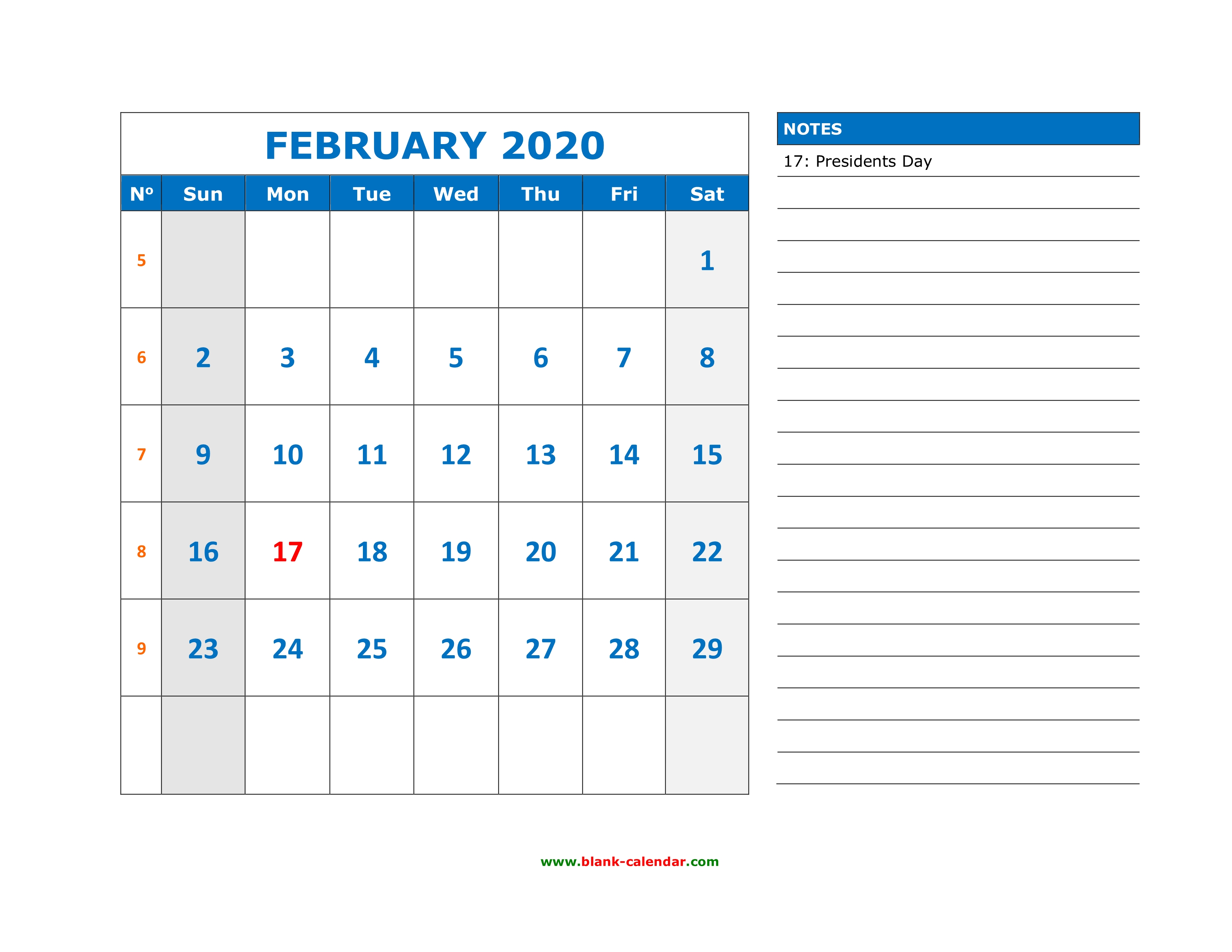 Free February 2020 Calendar Large Spaces Free Download Printable February 2020 Calendar, large space for