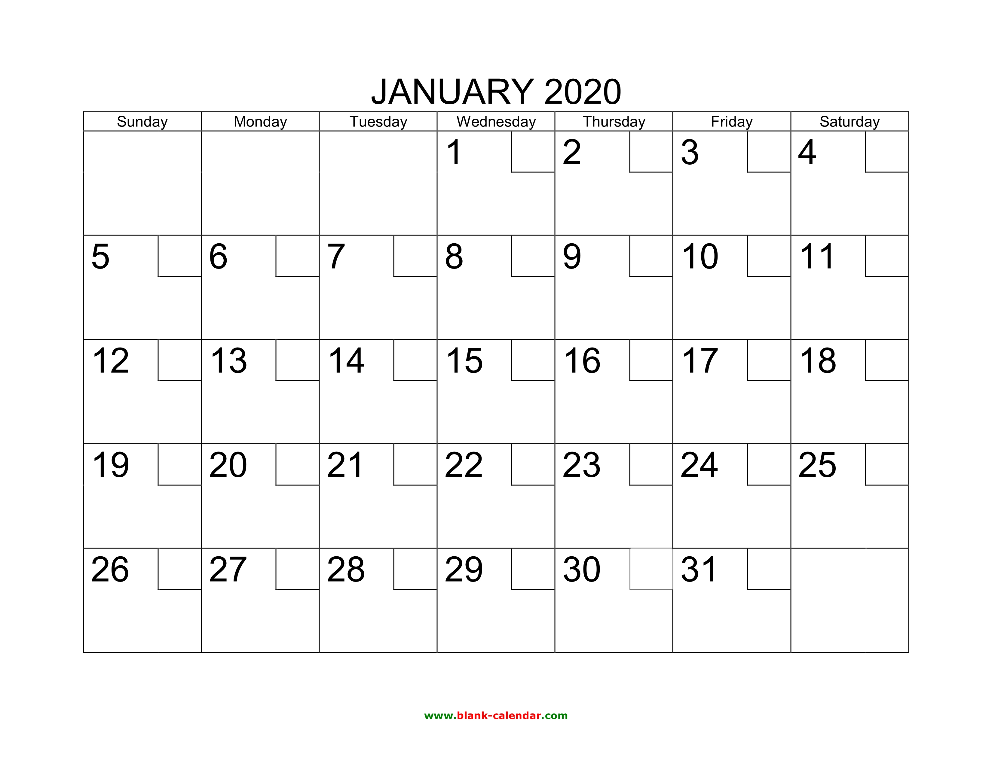 Download Calendar January 2020 Free Download Printable January 2020 Calendar with check boxes