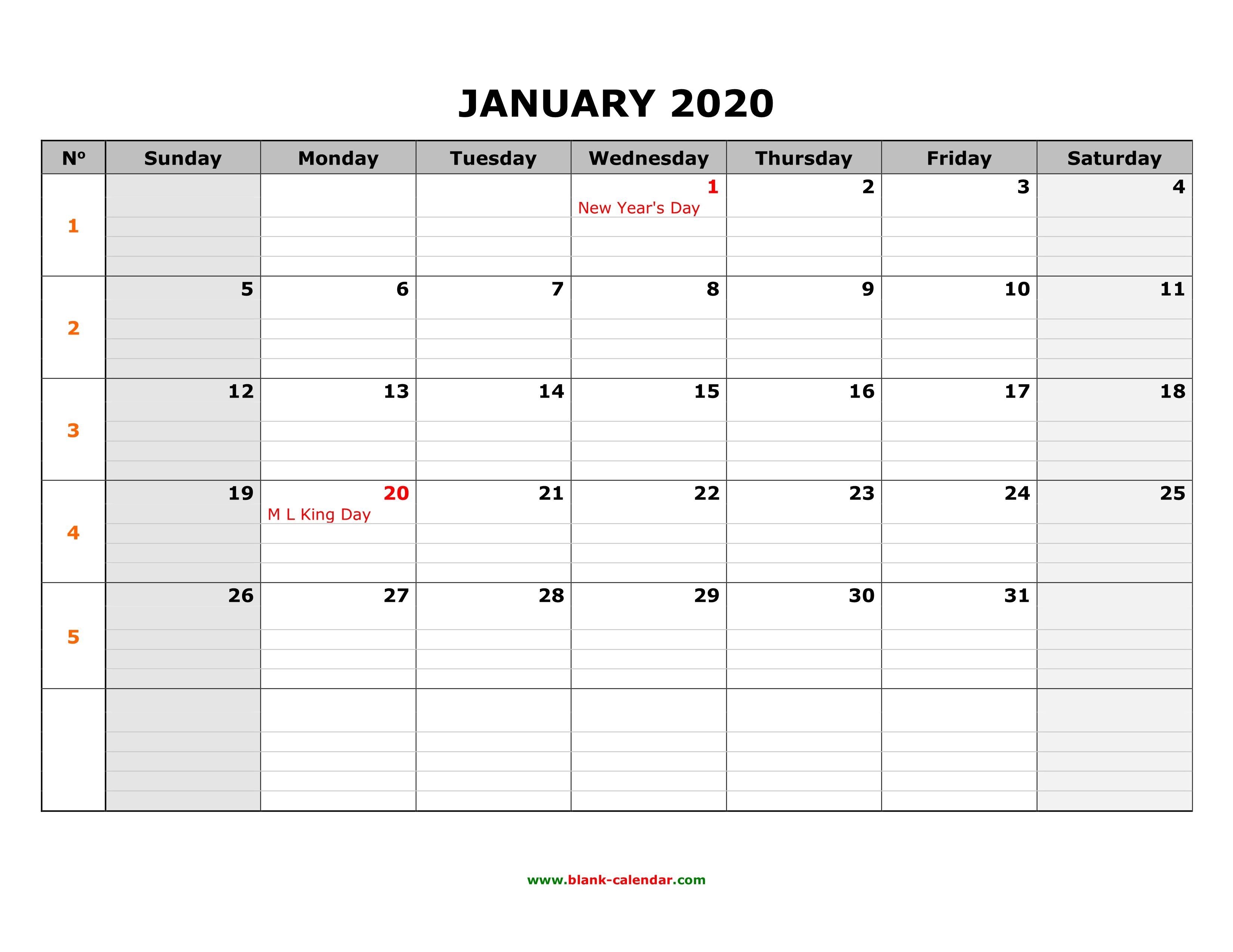 Excel Calendar January 2020 Free Download Printable January 2020 Calendar, large box grid