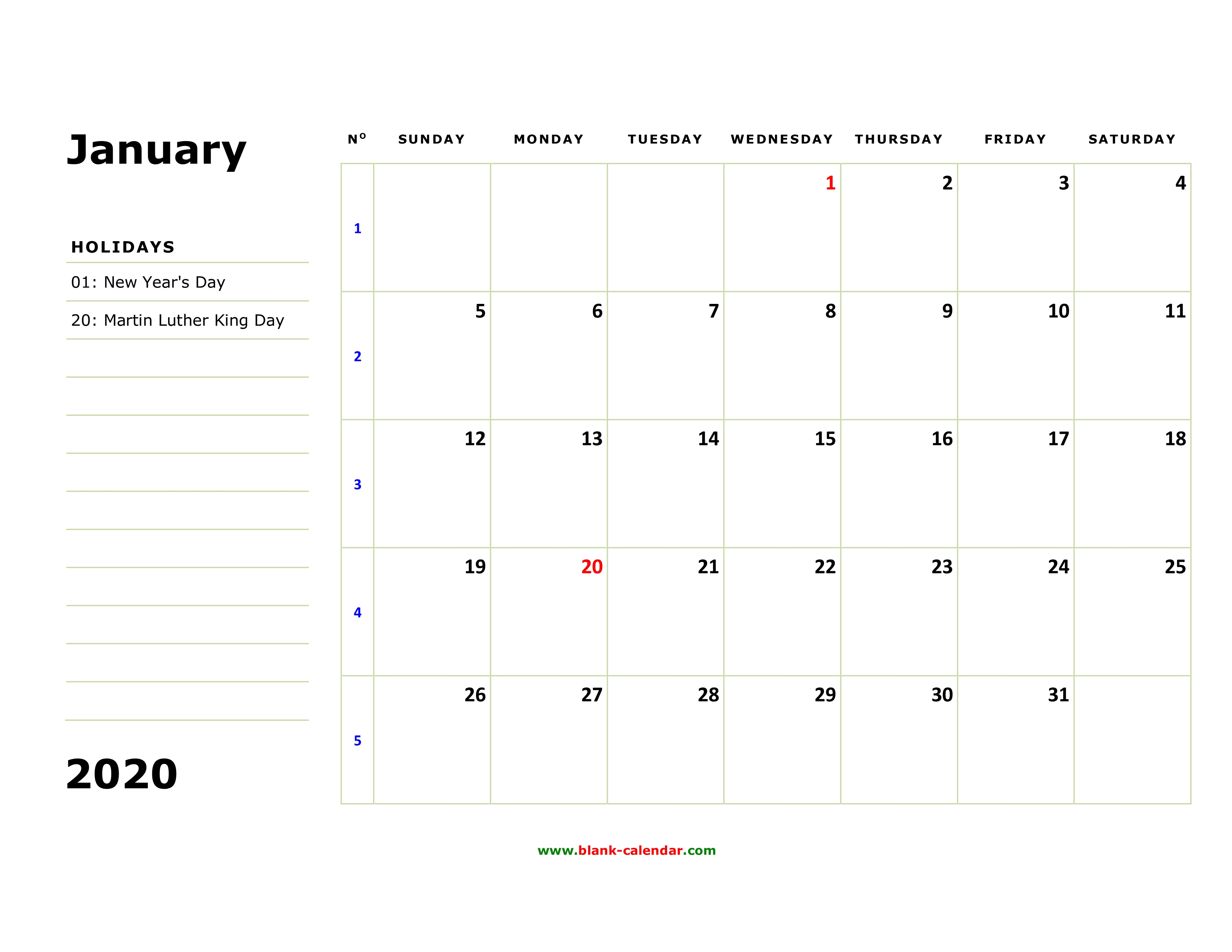 January 2020 Calendar With Holidays Jpg Free Download Printable January 2020 Calendar, large box, holidays