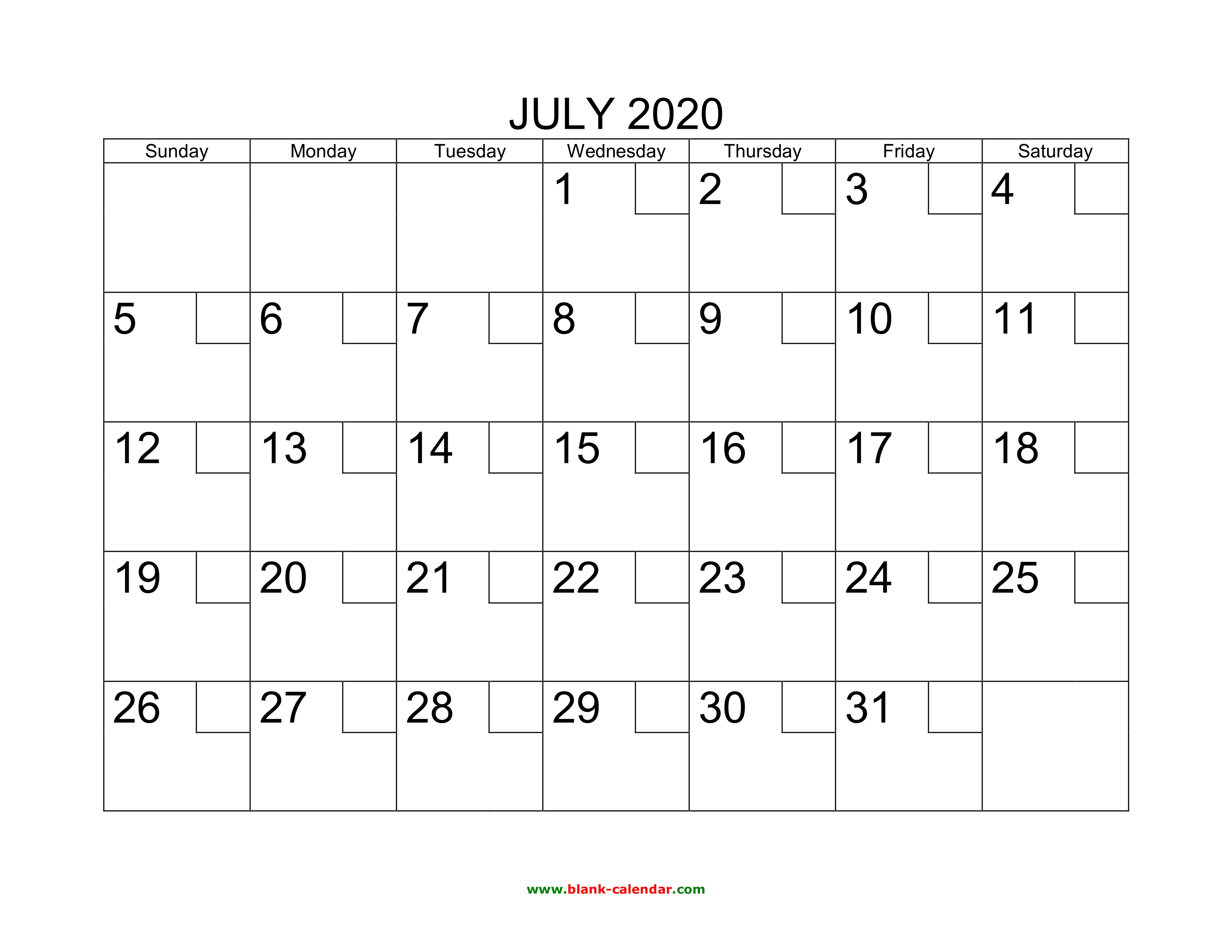 July Calendar 2020.Free Download Printable July 2020 Calendar With Check Boxes