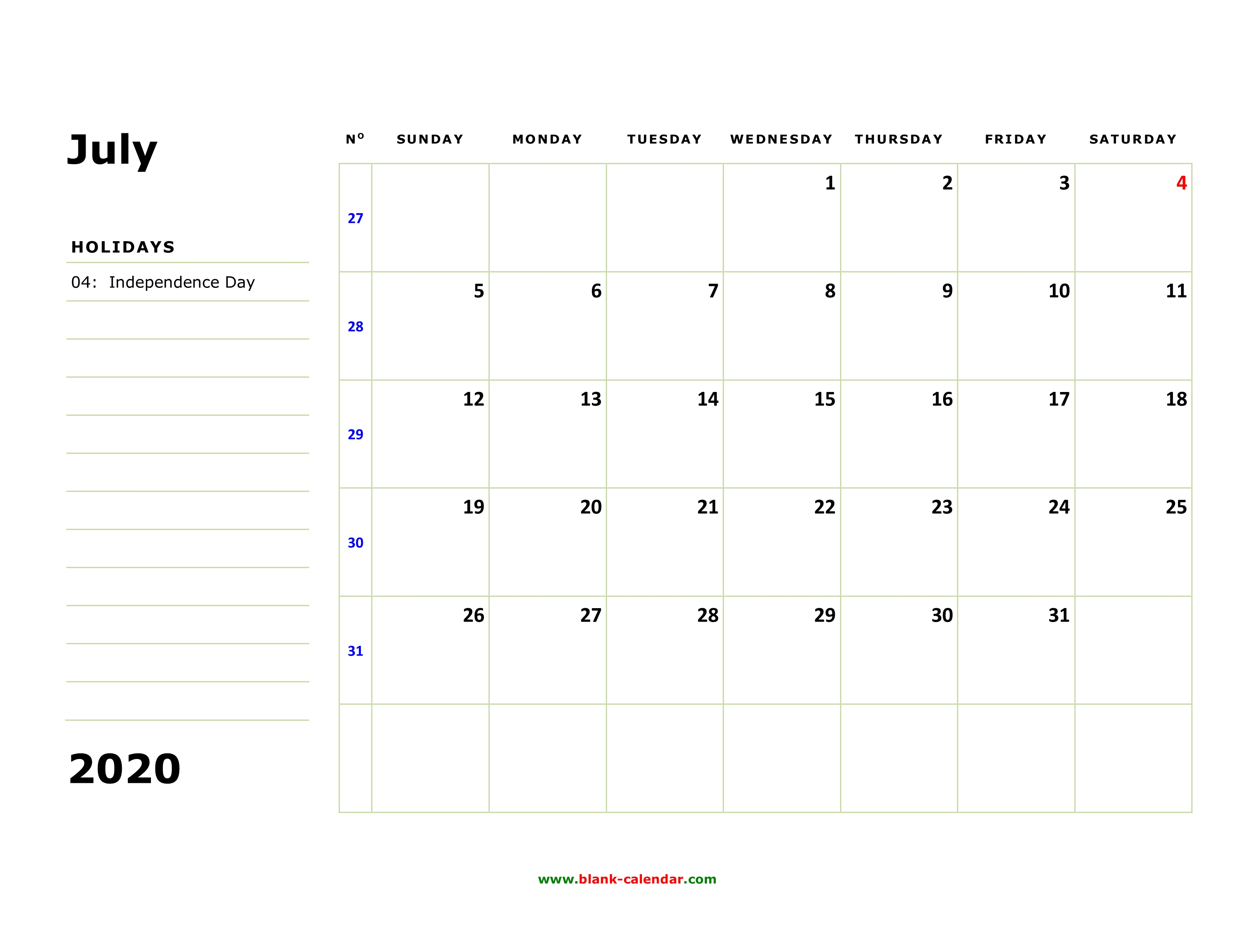 Printable Calendar July 2020.Free Download Printable July 2020 Calendar Large Box Holidays