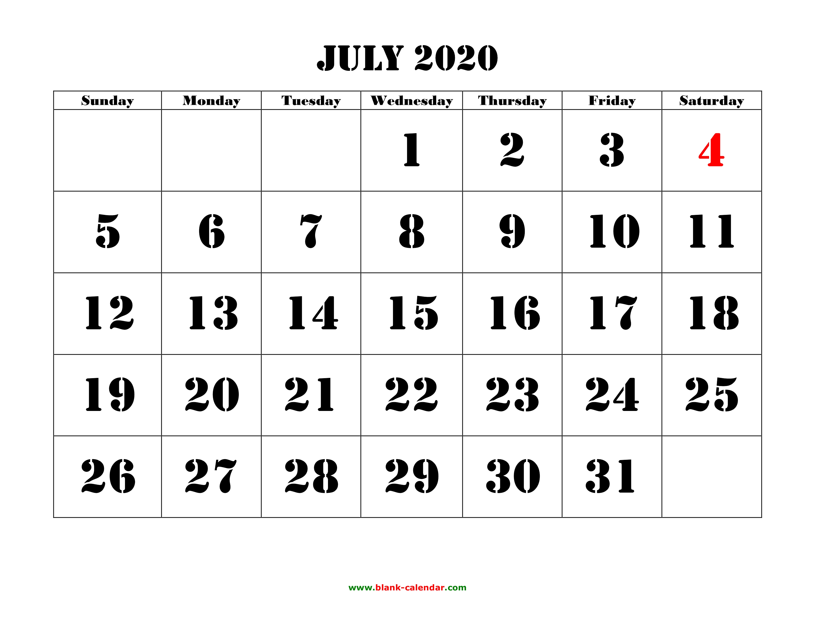 July 4 2020 Calendar Free Download Printable July 2020 Calendar, large font design