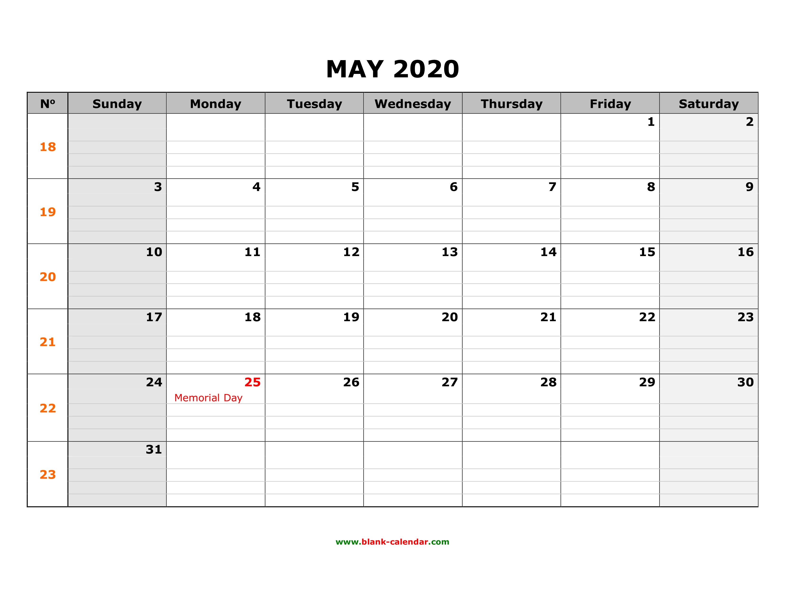 2020 Memorial Day Calendar Free Download Printable May 2020 Calendar, large box grid, space