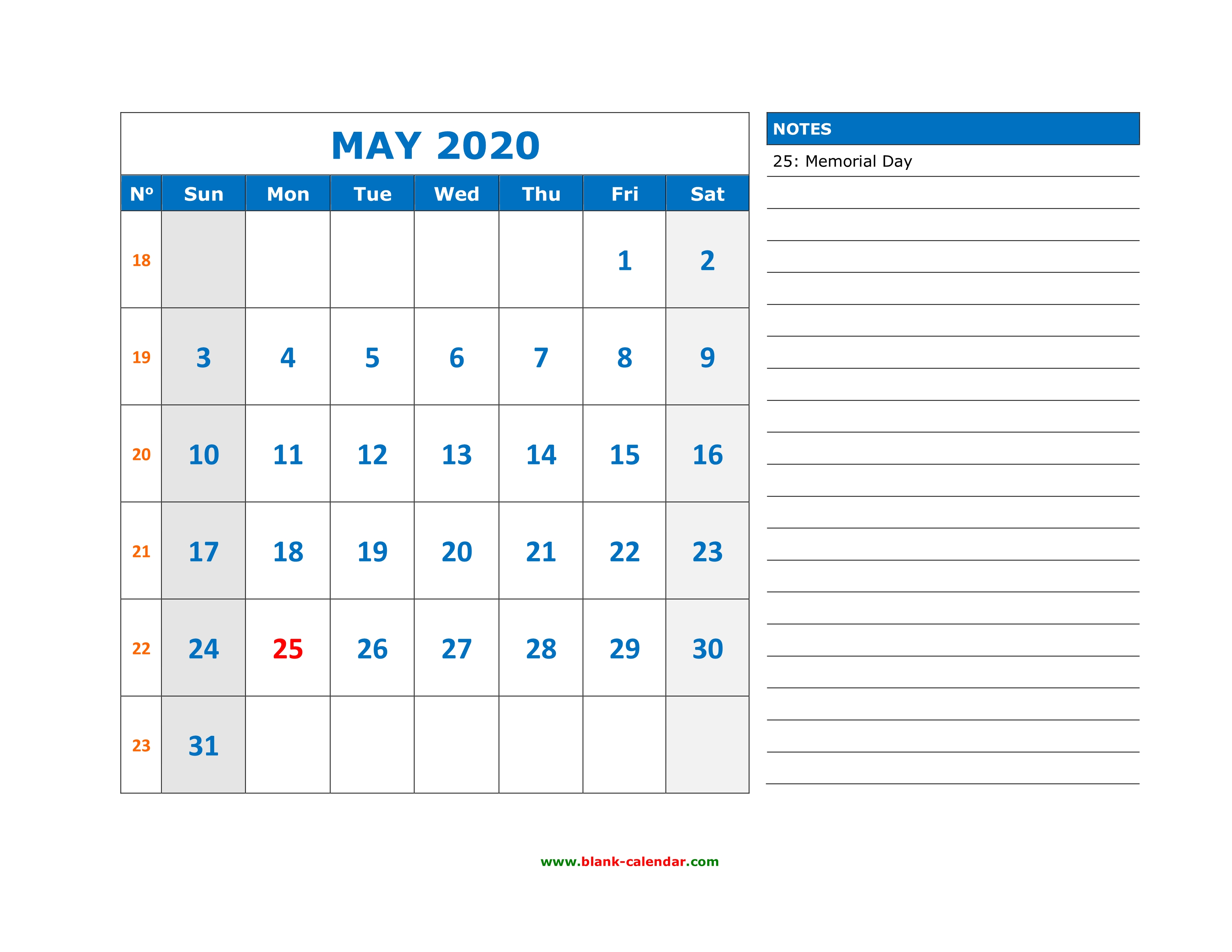 Free Download Printable May 2020 Calendar Large Space For