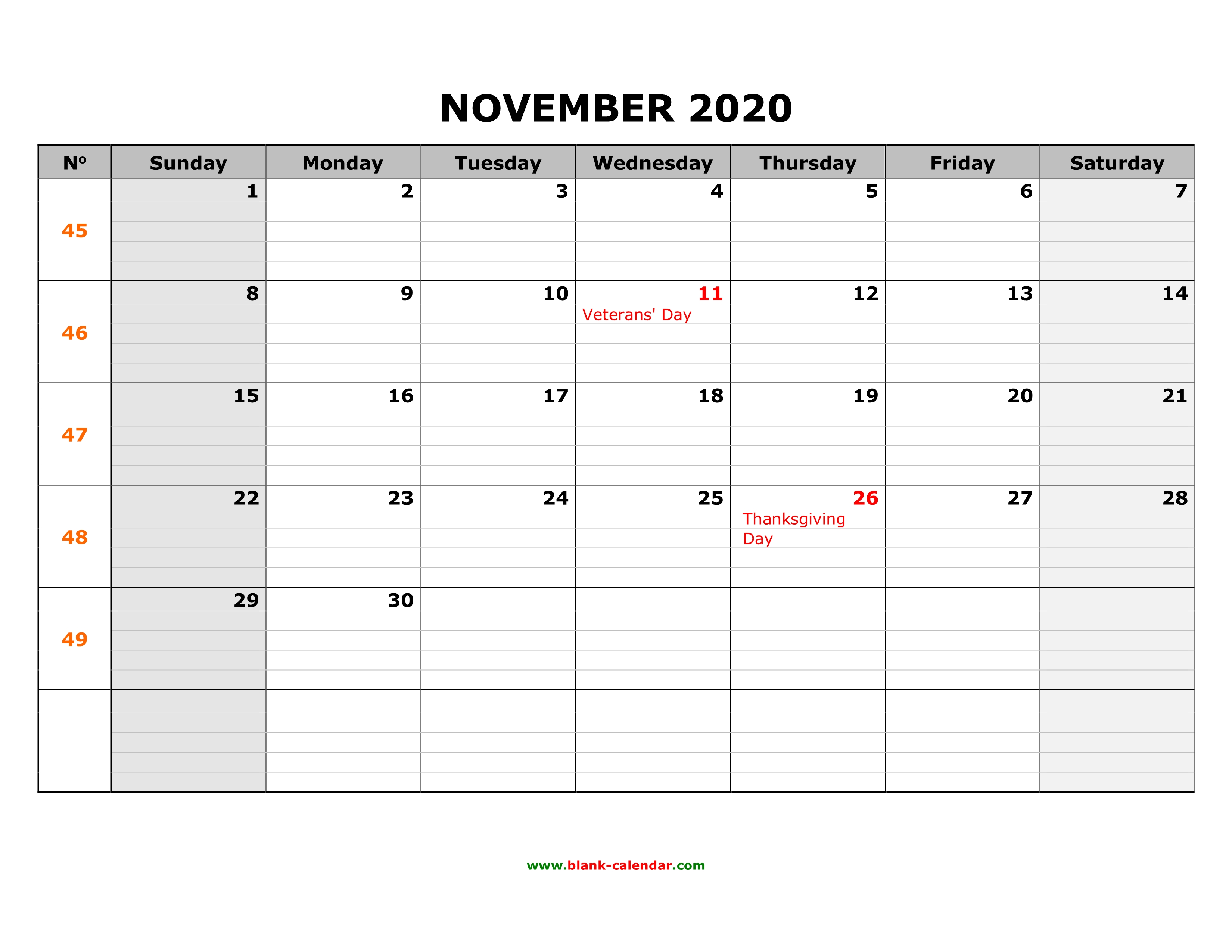 2020 Calendar Thanksgiving Free Download Printable November 2020 Calendar, large box grid