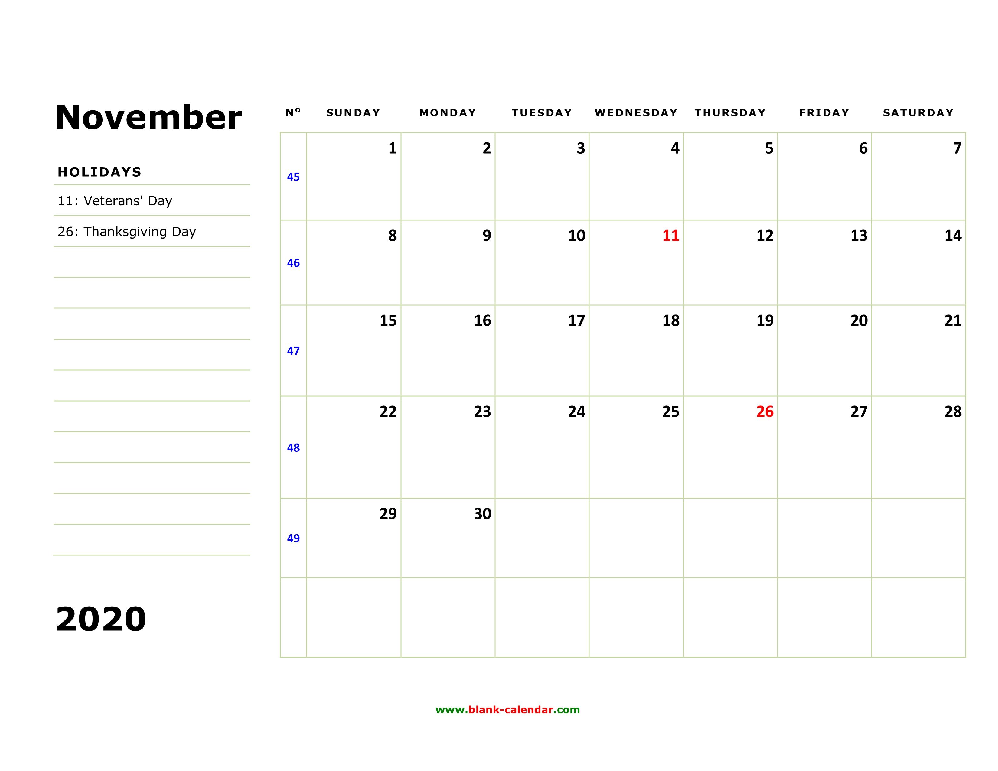 November 2020 Calendar Printable.Free Download Printable November 2020 Calendar Large Box Holidays
