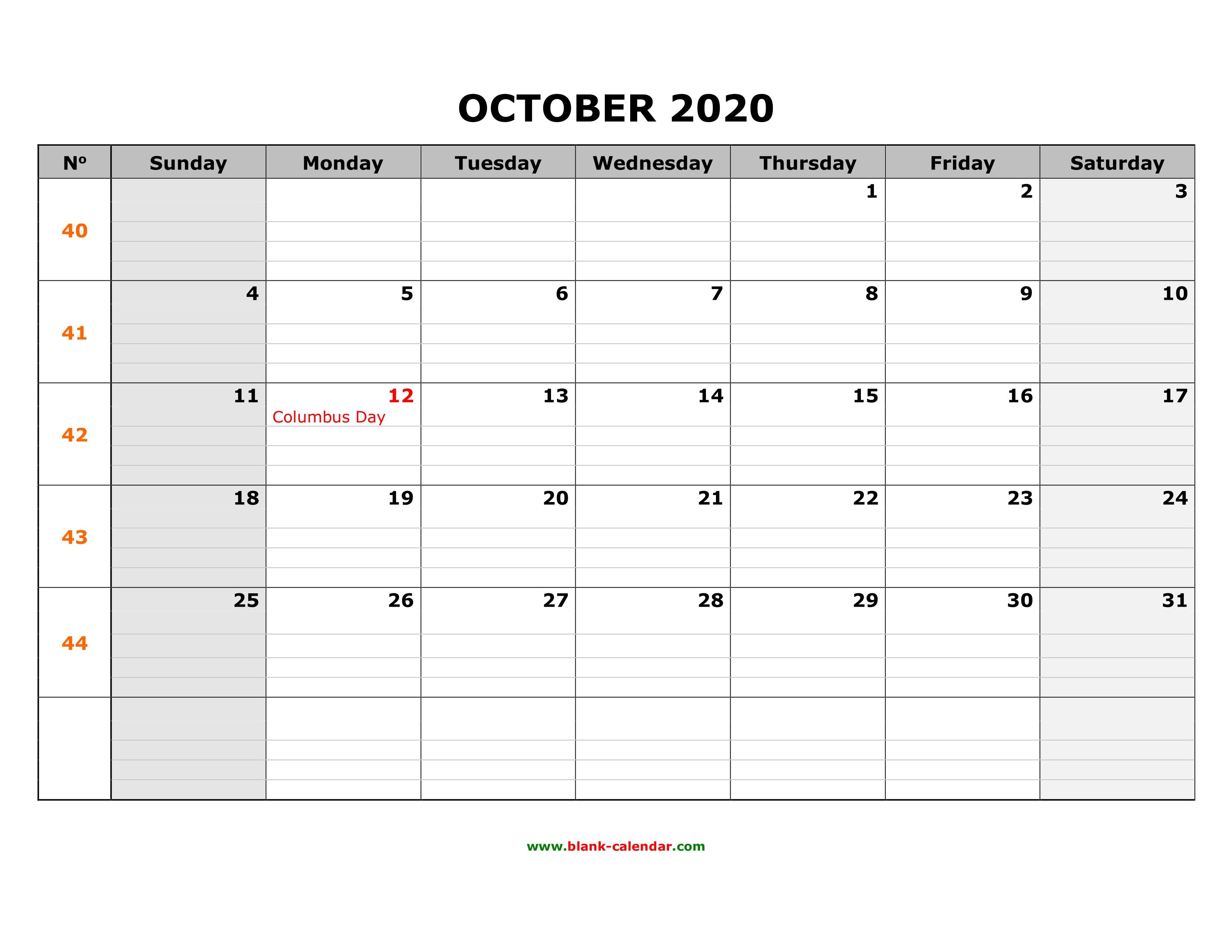 October 2020 Printable Calendar.Free Download Printable October 2020 Calendar Large Box Grid Space