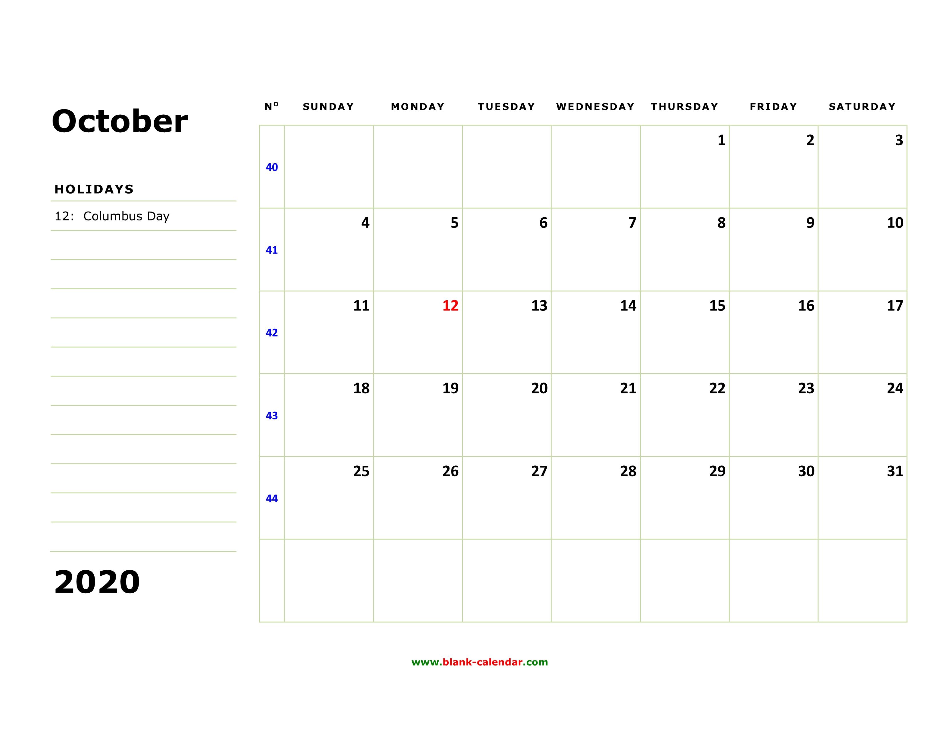 October 2020 Printable Calendar.Free Download Printable October 2020 Calendar Large Box Holidays