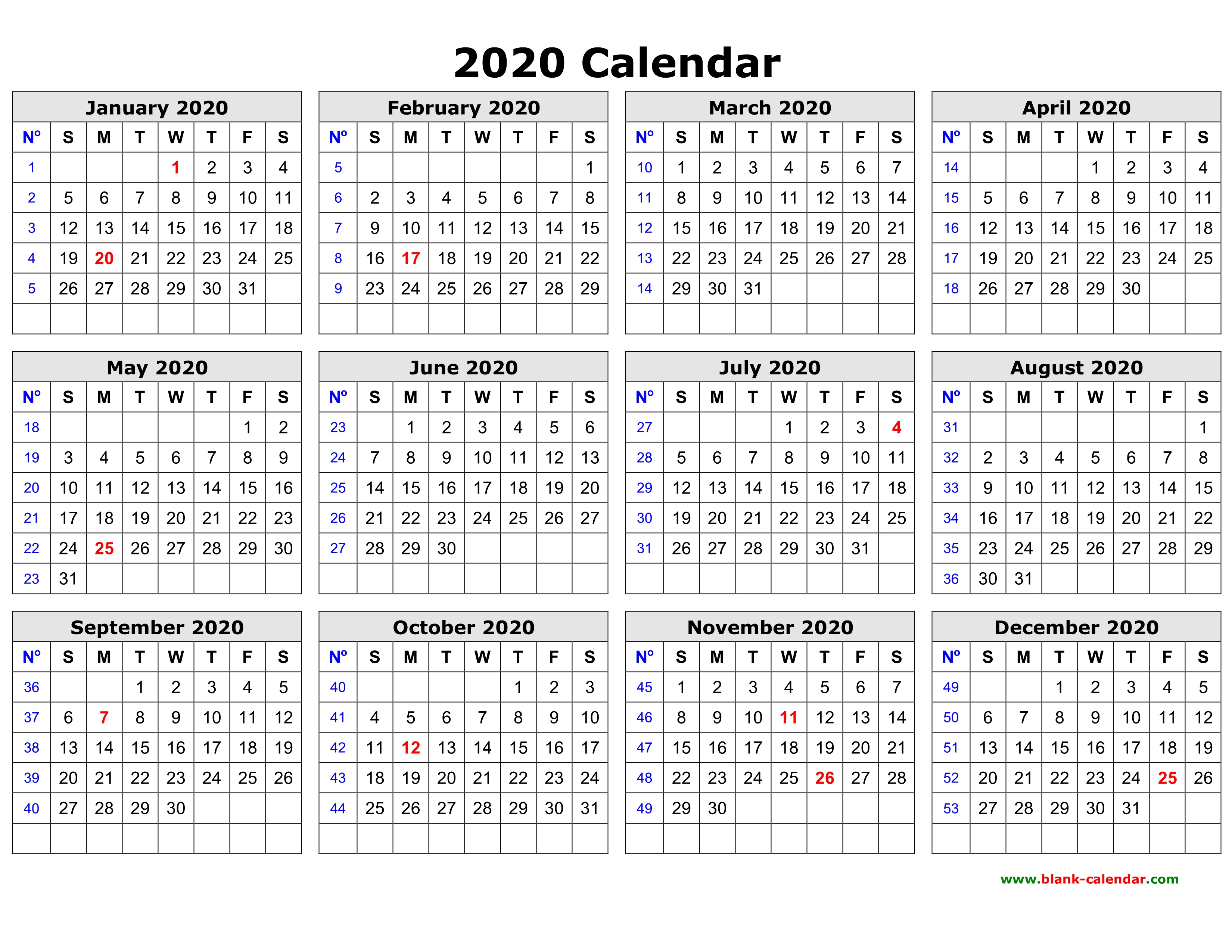 Printable Year Calendar 2020 Free Download Printable Calendar 2020 in one page, clean design.