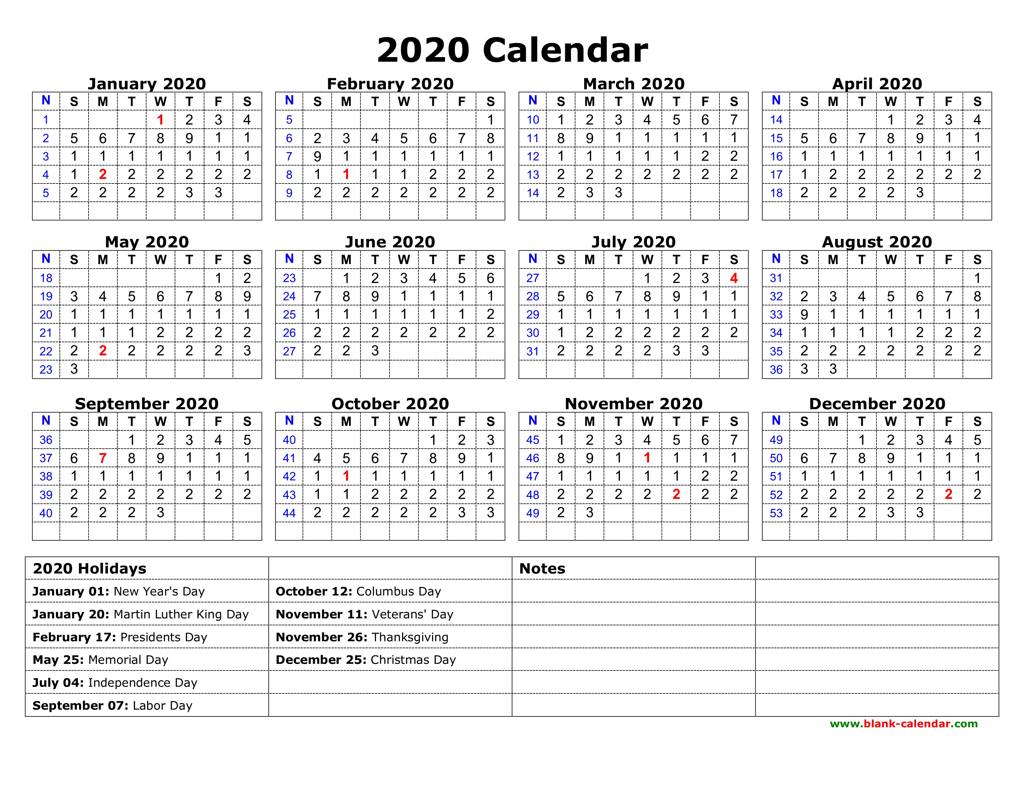 Download 2020 Calendar Free Download Printable Calendar 2020 with US Federal Holidays