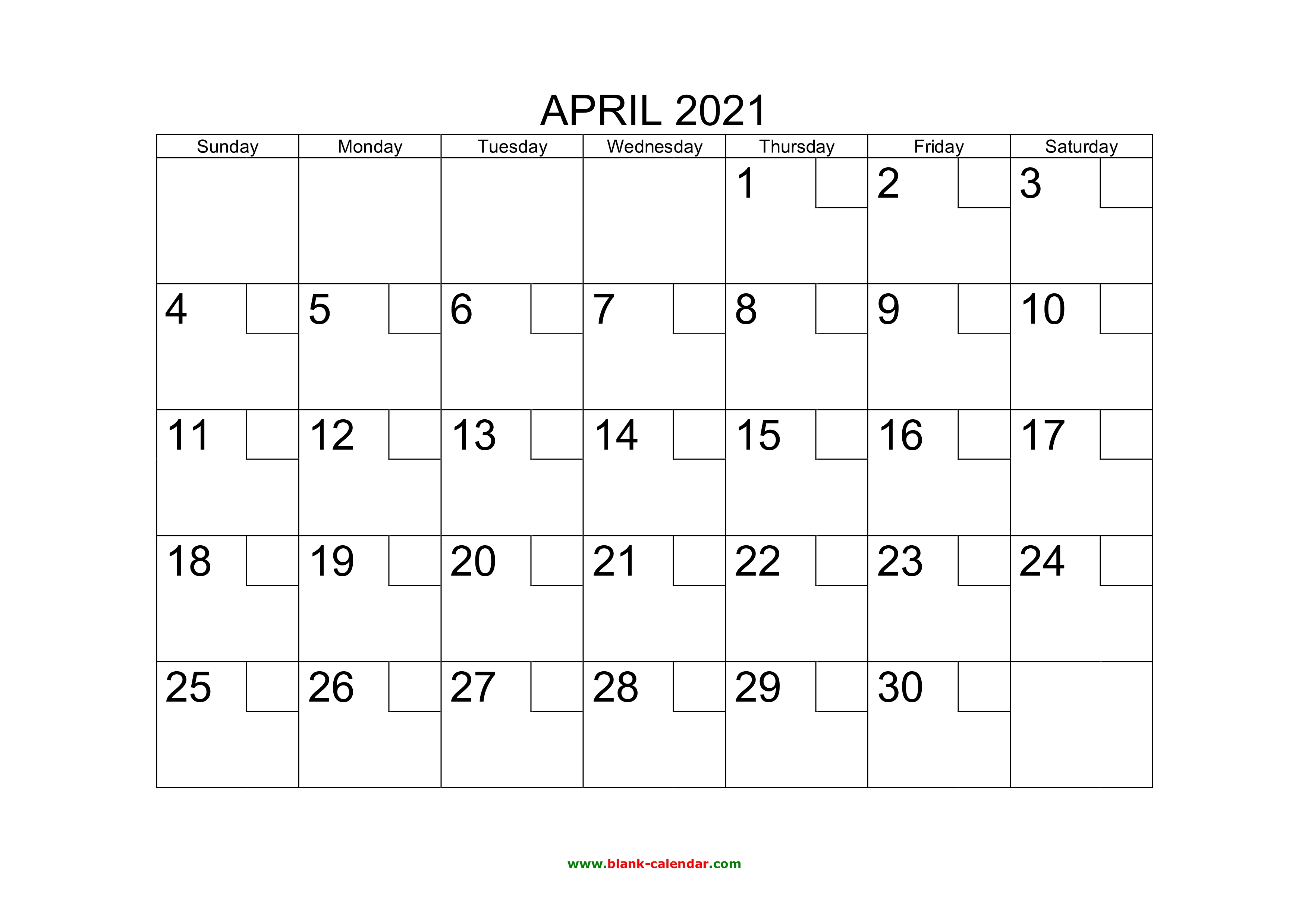 Free Download Printable April 2021 Calendar With Check Boxes