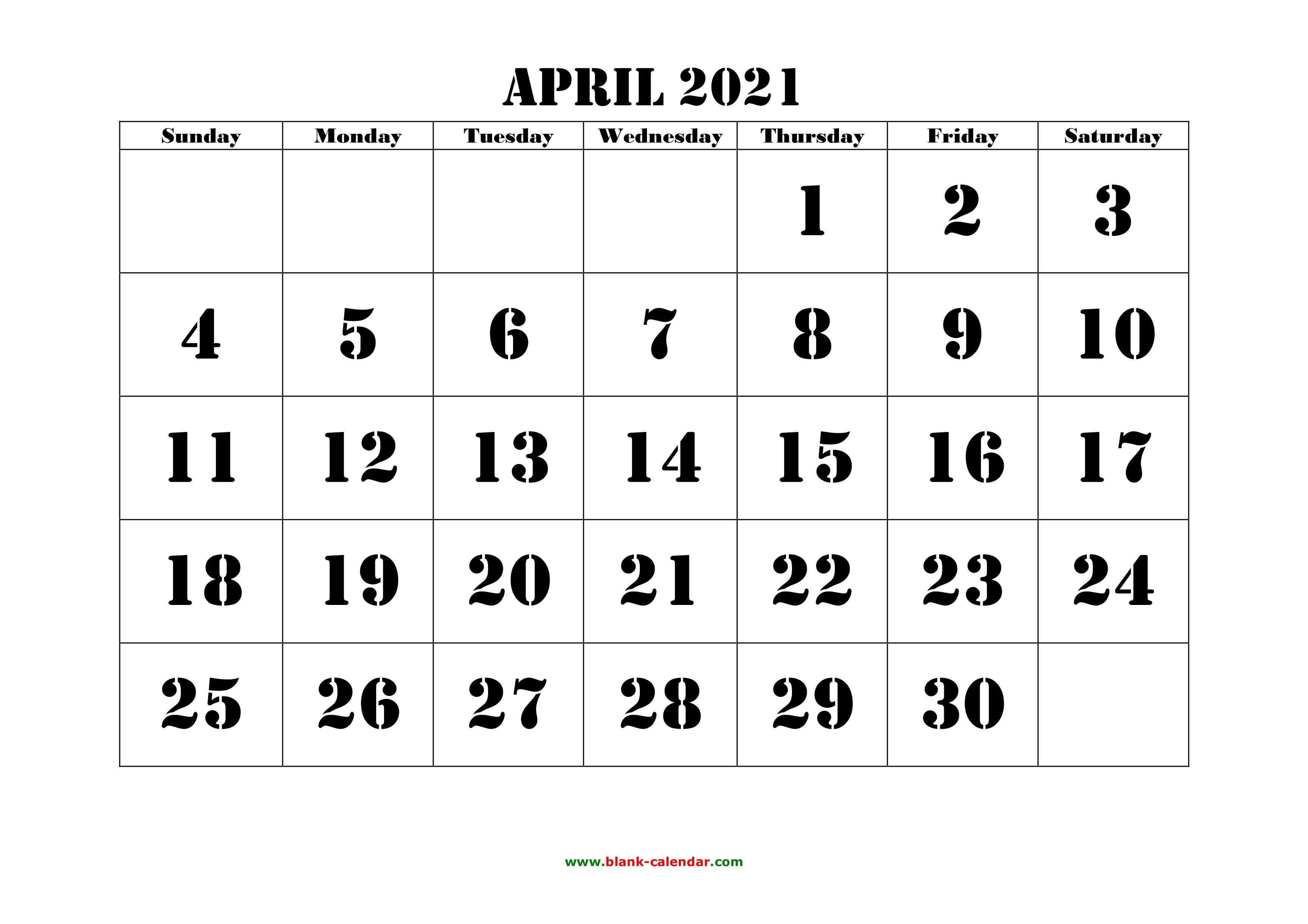 Free Download Printable April 2021 Calendar, large font ...
