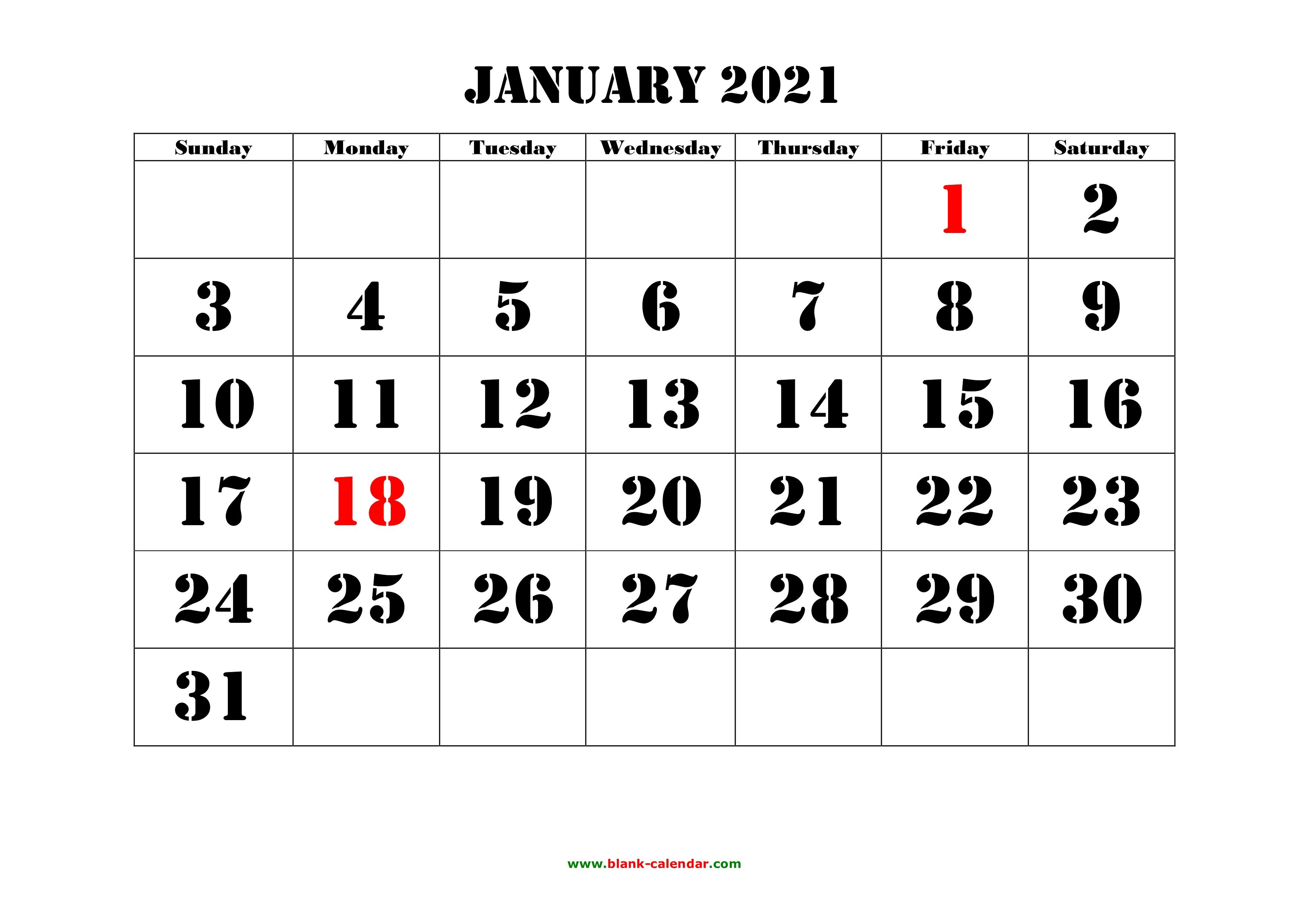 Free Download Printable January 2021 Calendar Large Font Design Holidays On Red