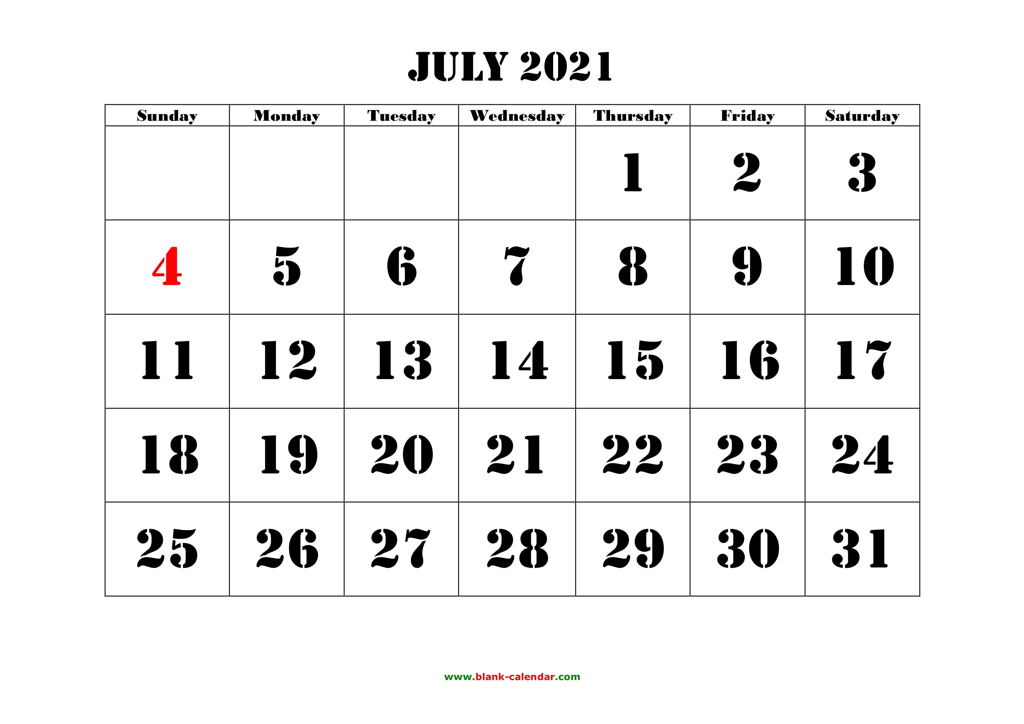 Free Download Printable July 2021 Calendar, large font ...