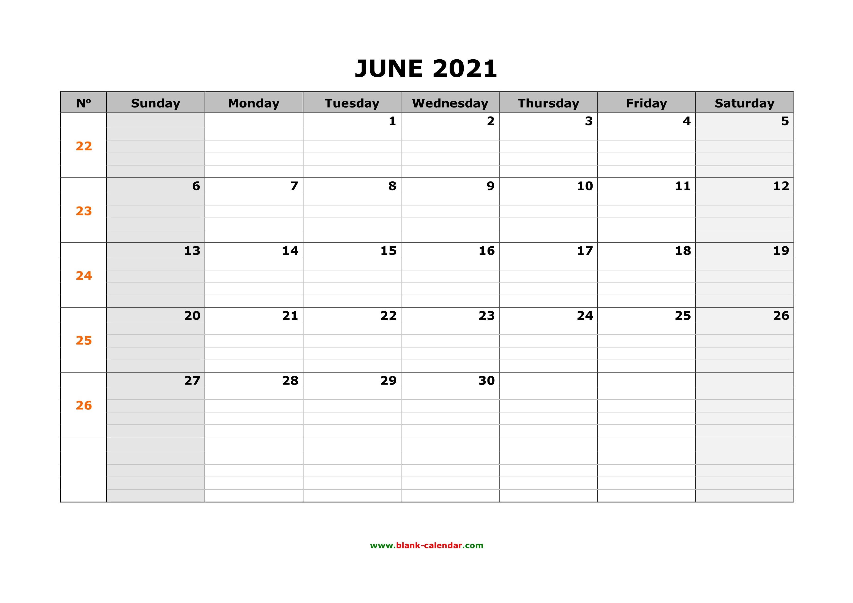 Large June 2021 Calendar Printable Free Download Printable June 2021 Calendar, large box grid, space