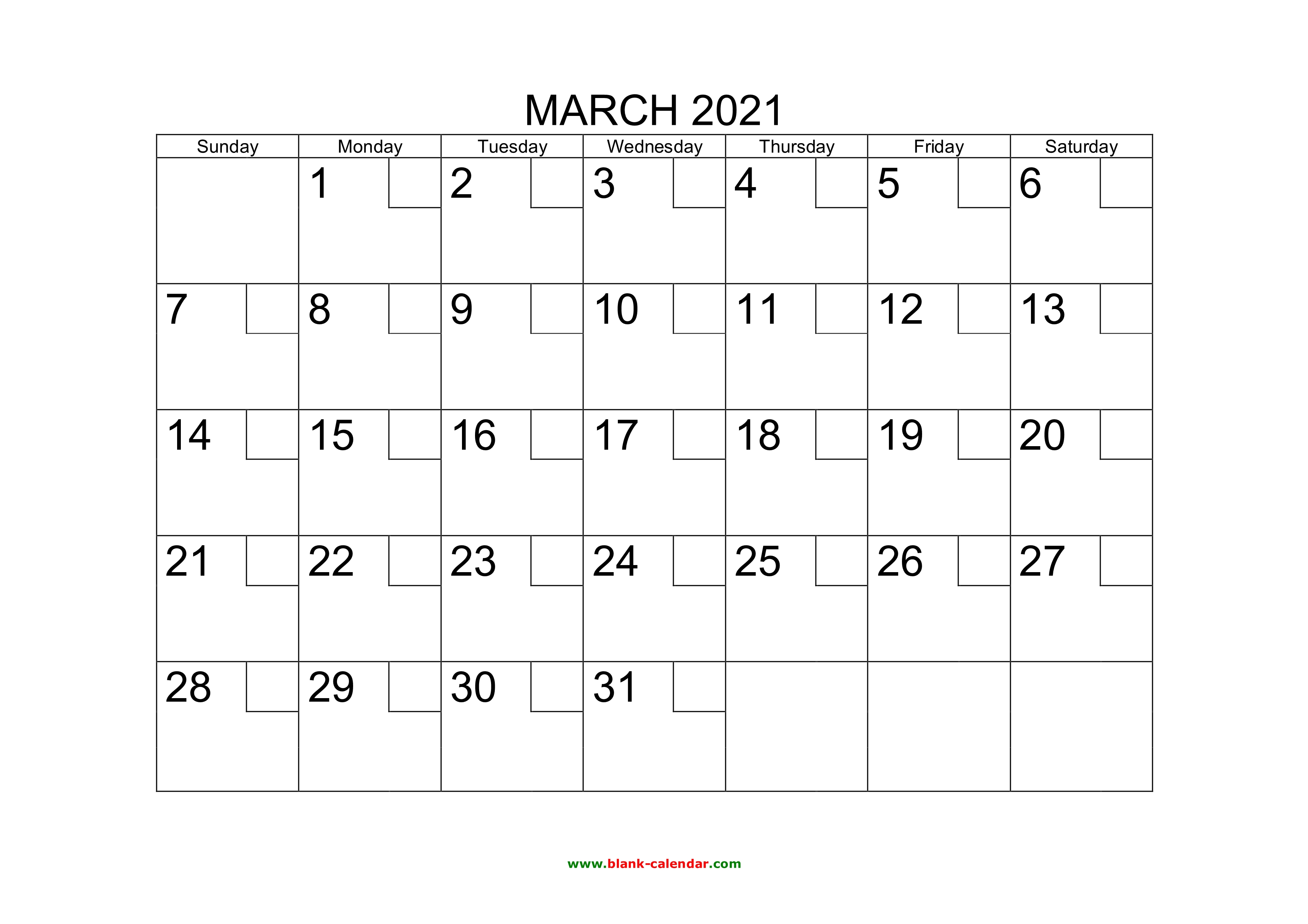 Free Download Printable March 2021 Calendar With Check Boxes