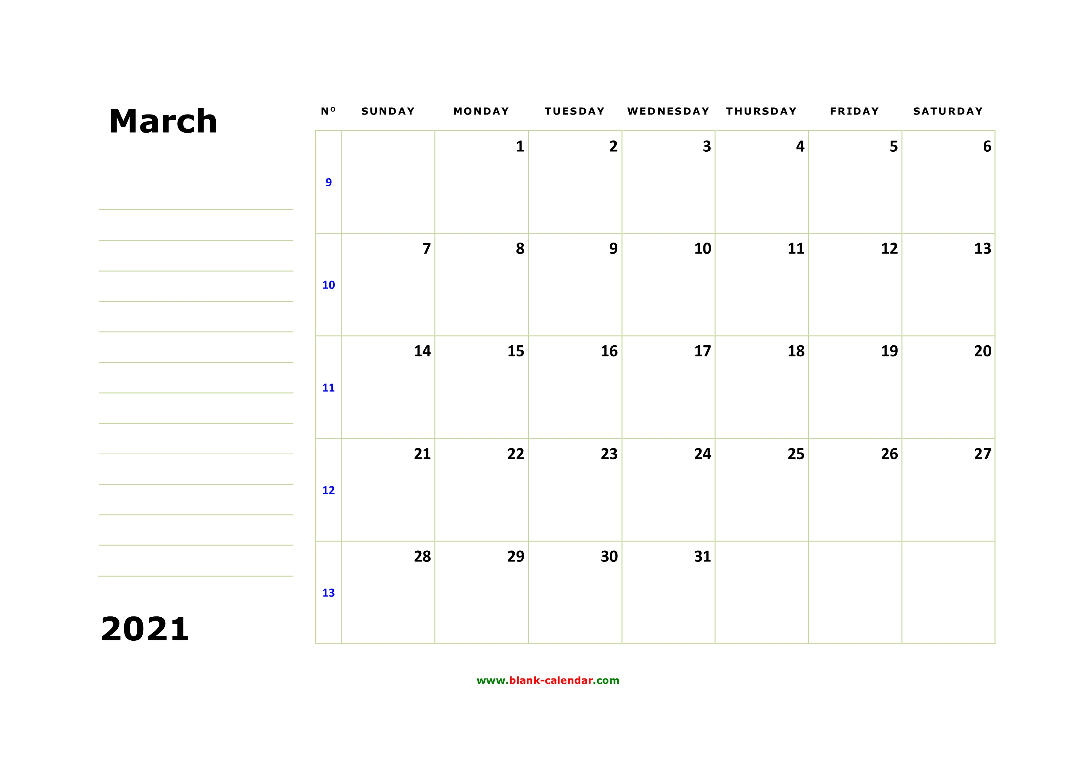 Free Download Printable March 2021 Calendar Large Box Holidays