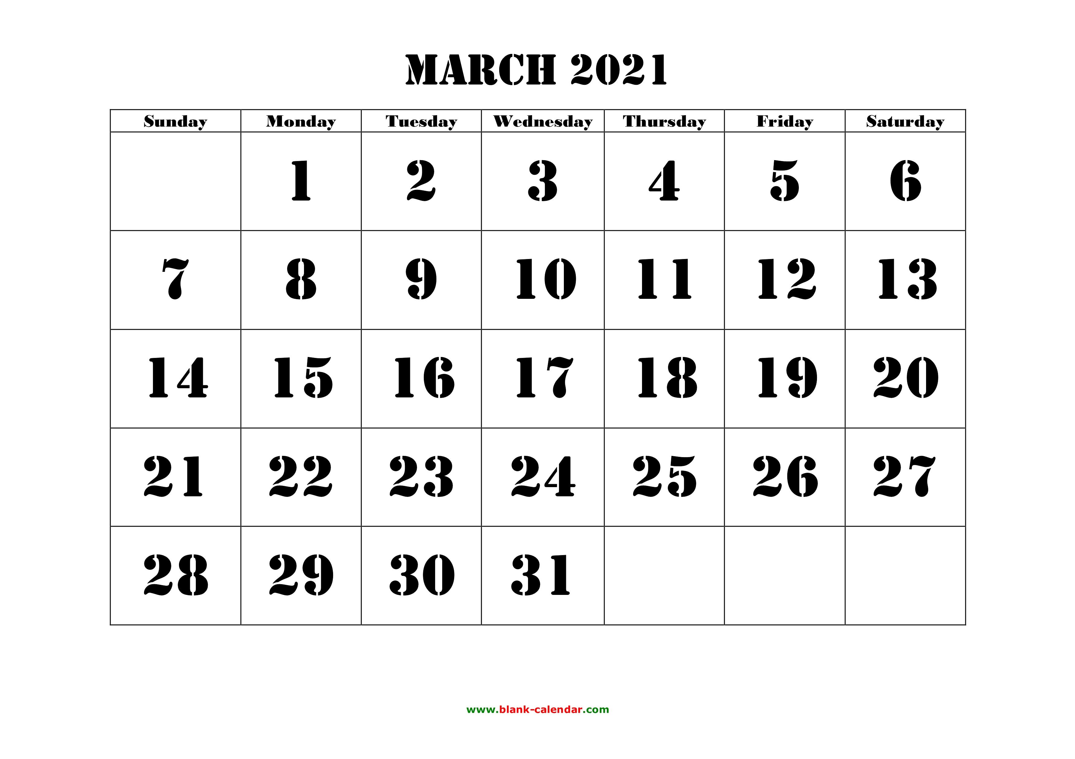 Free Download Printable March 2021 Calendar Large Font Design