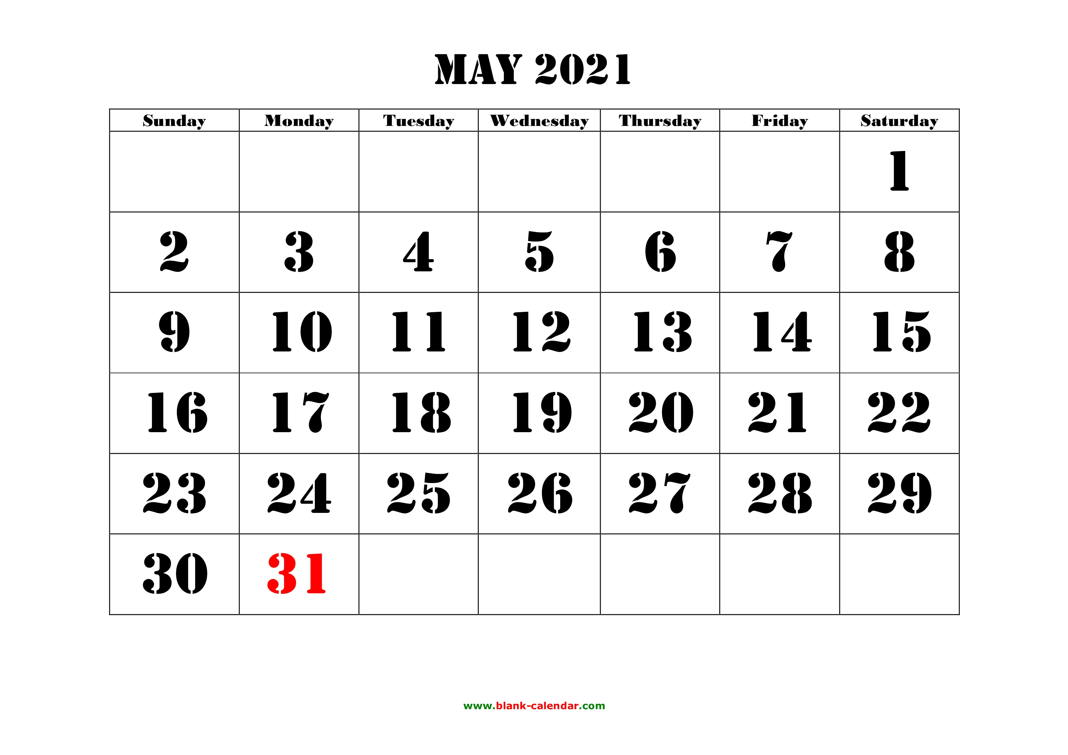 picture relating to 2021 Calendar Printable identified as No cost Down load Printable May possibly 2021 Calendar, higher font style and design
