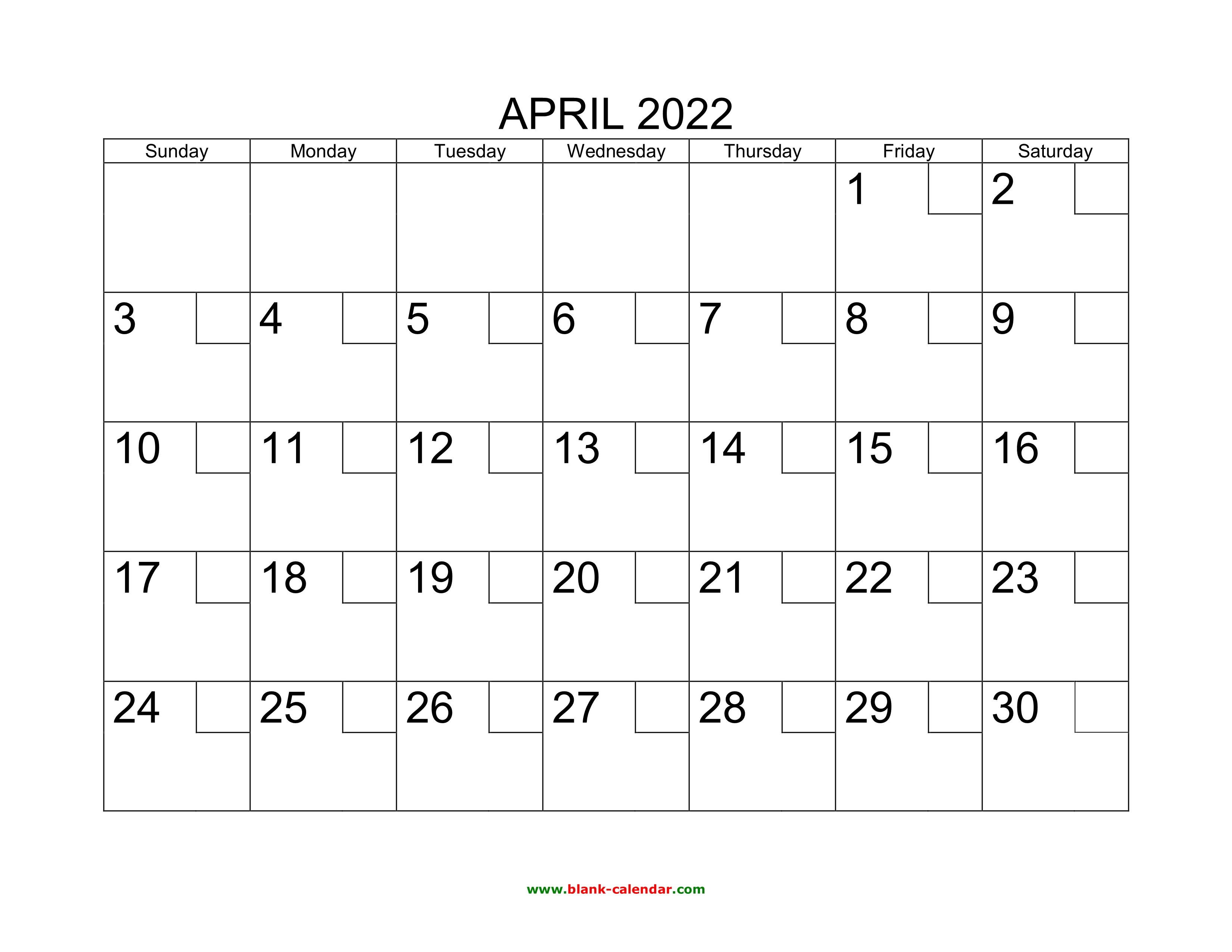 Free Printable April 2022 Calendar.Free Download Printable April 2022 Calendar With Check Boxes