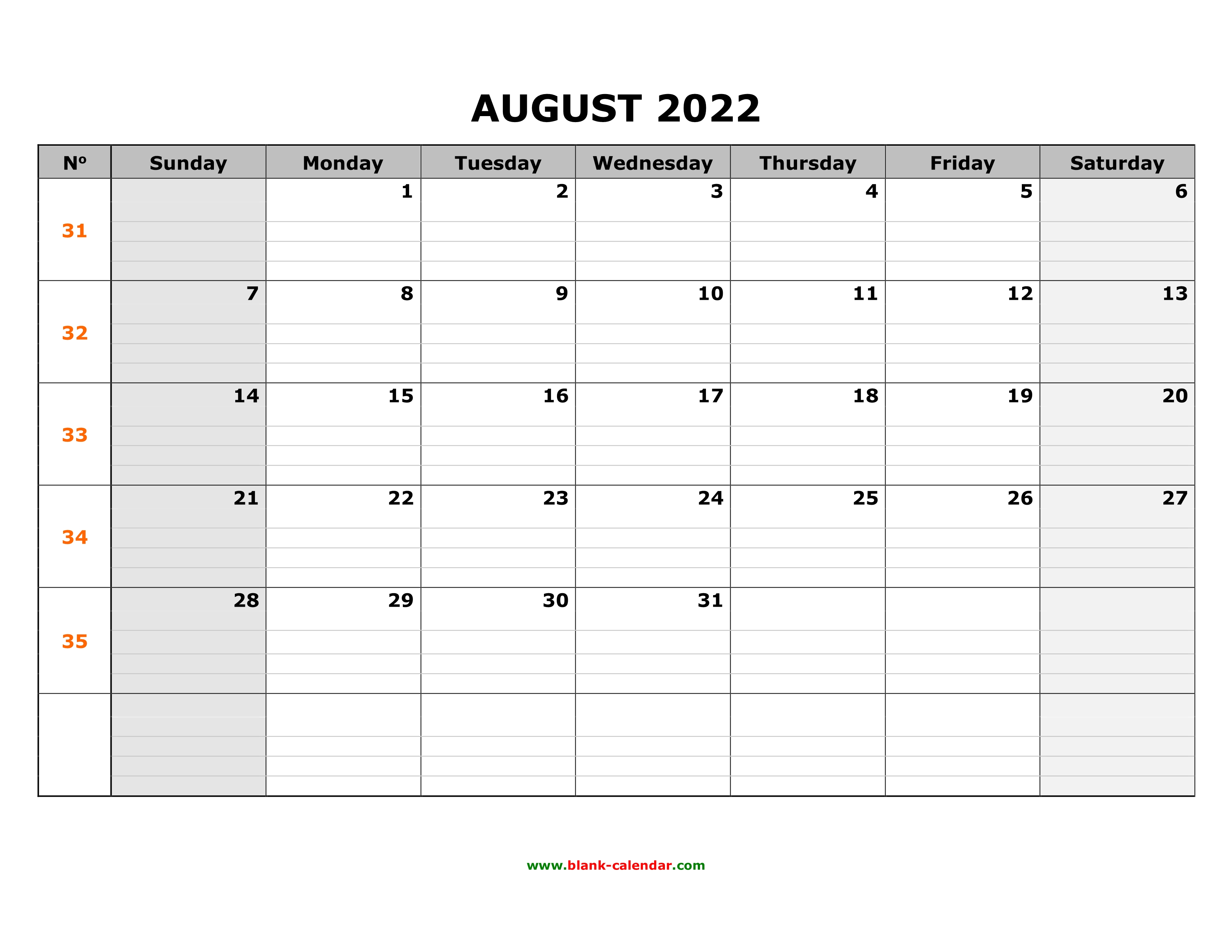 Blank August 2022 Calendar.Free Download Printable August 2022 Calendar Large Box Grid Space For Notes