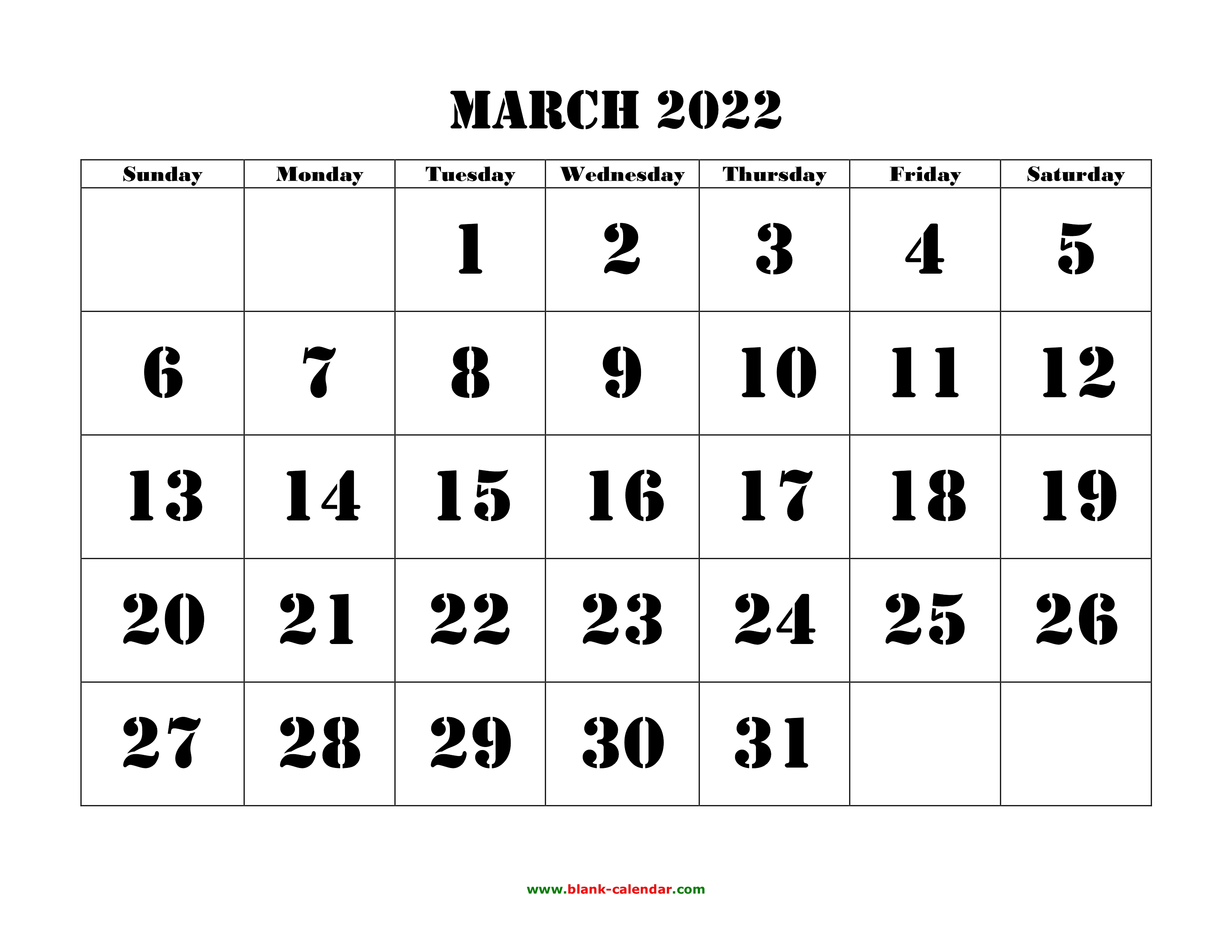 Free Printable March 2022 Calendar.Free Download Printable March 2022 Calendar Large Font Design Holidays On Red