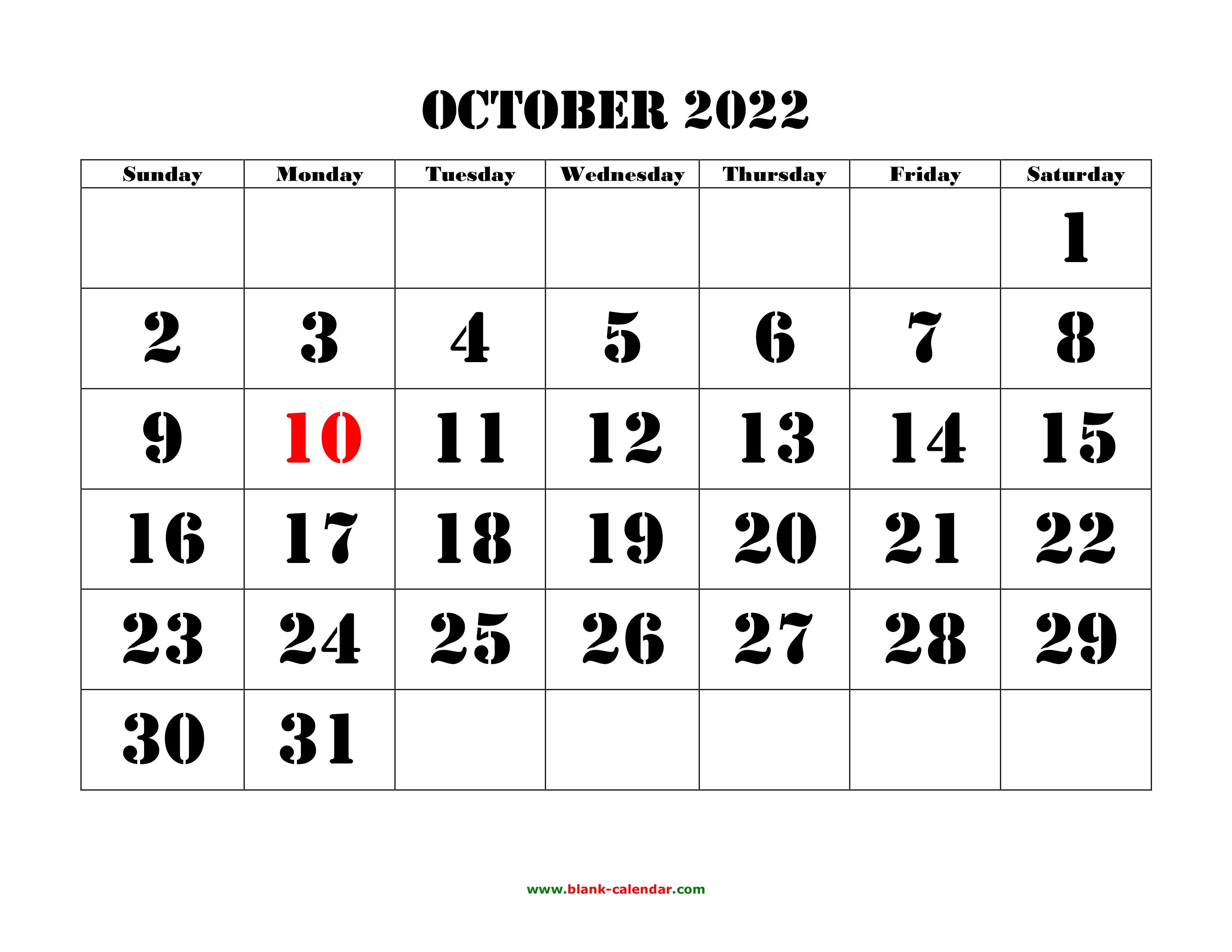 Oct 2022 Calendar With Holidays.Free Download Printable October 2022 Calendar Large Font Design Holidays On Red