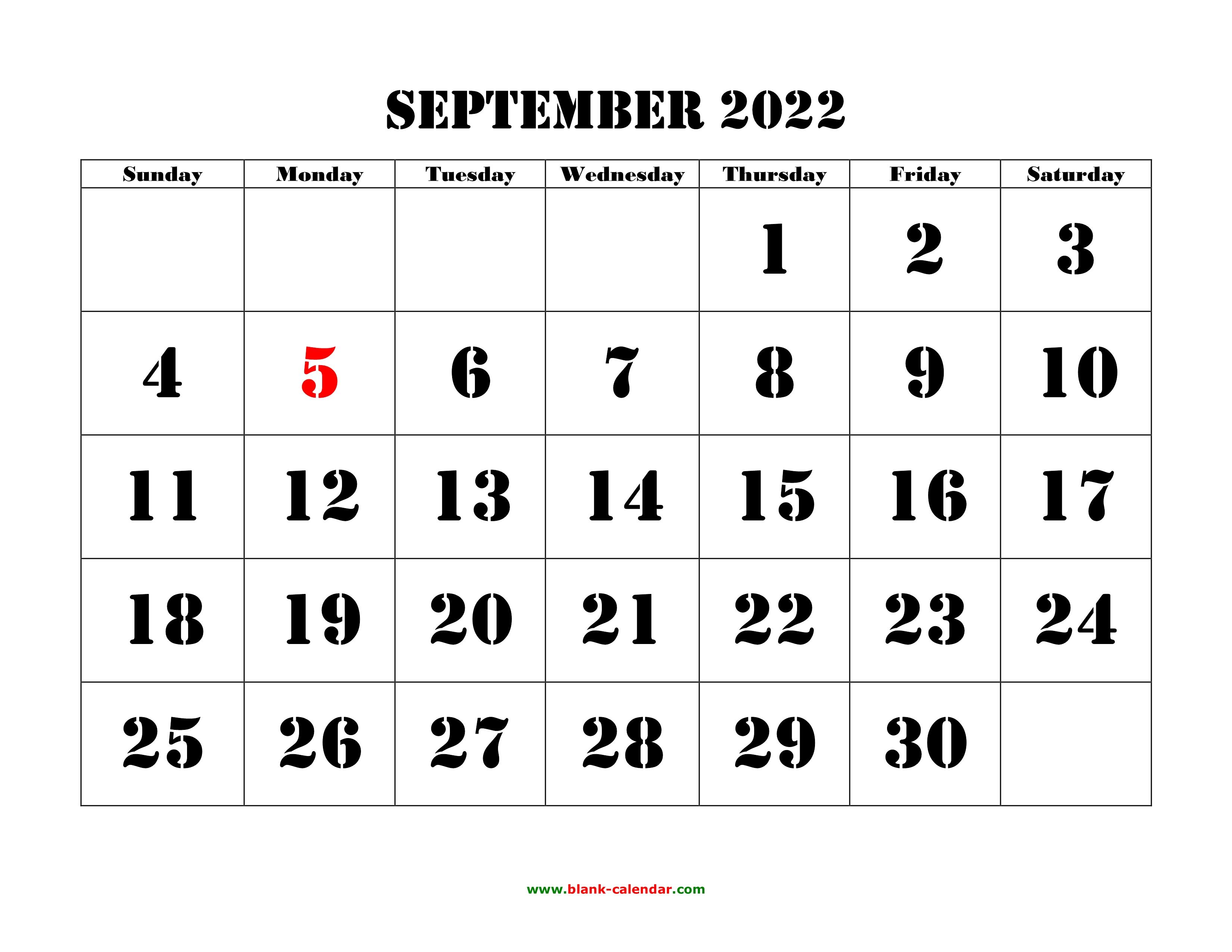 Printable September Calendar 2022.Free Download Printable September 2022 Calendar Large Font Design Holidays On Red
