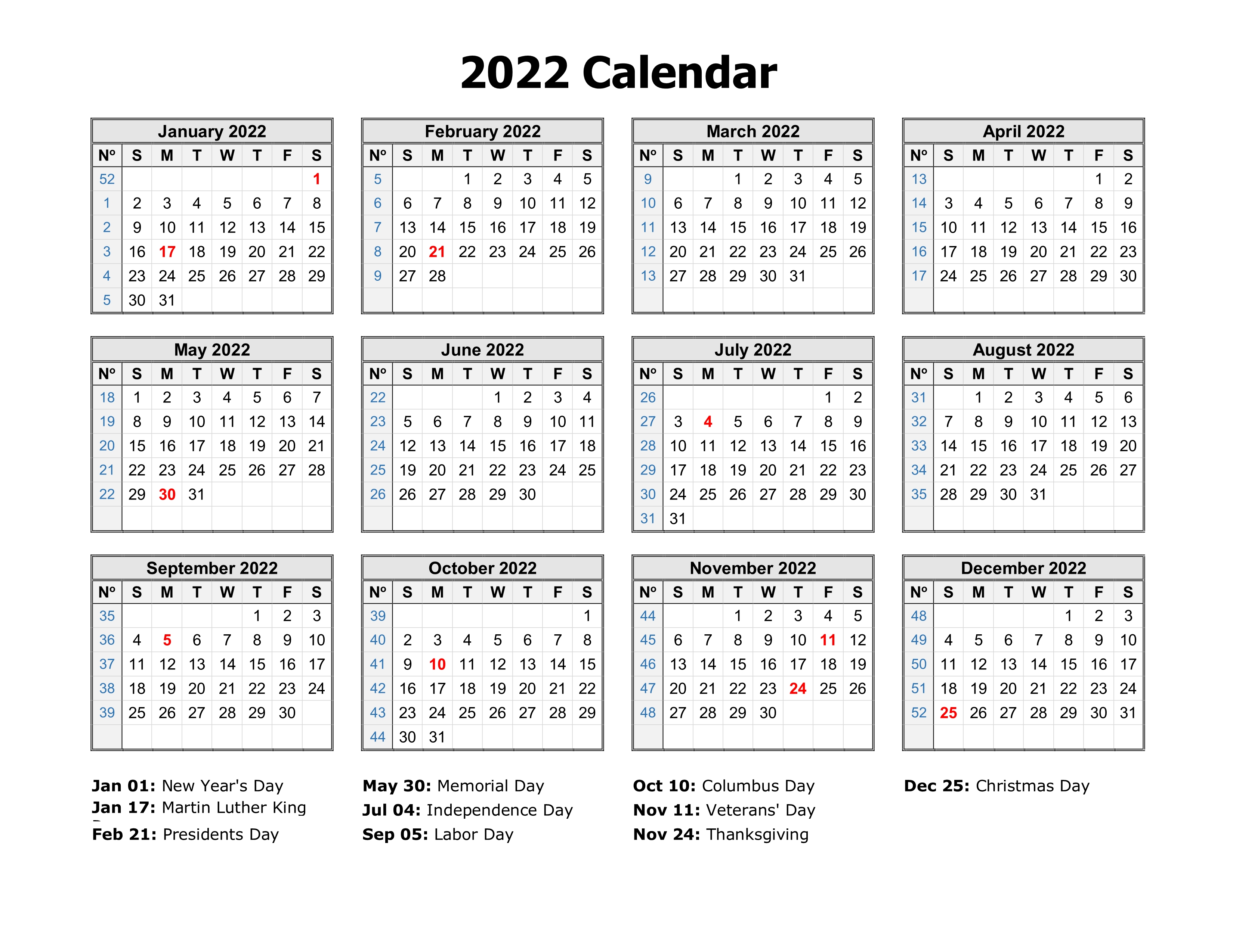 2022 One Page Calendar.Free Download Printable Calendar 2022 In One Page Clean Design