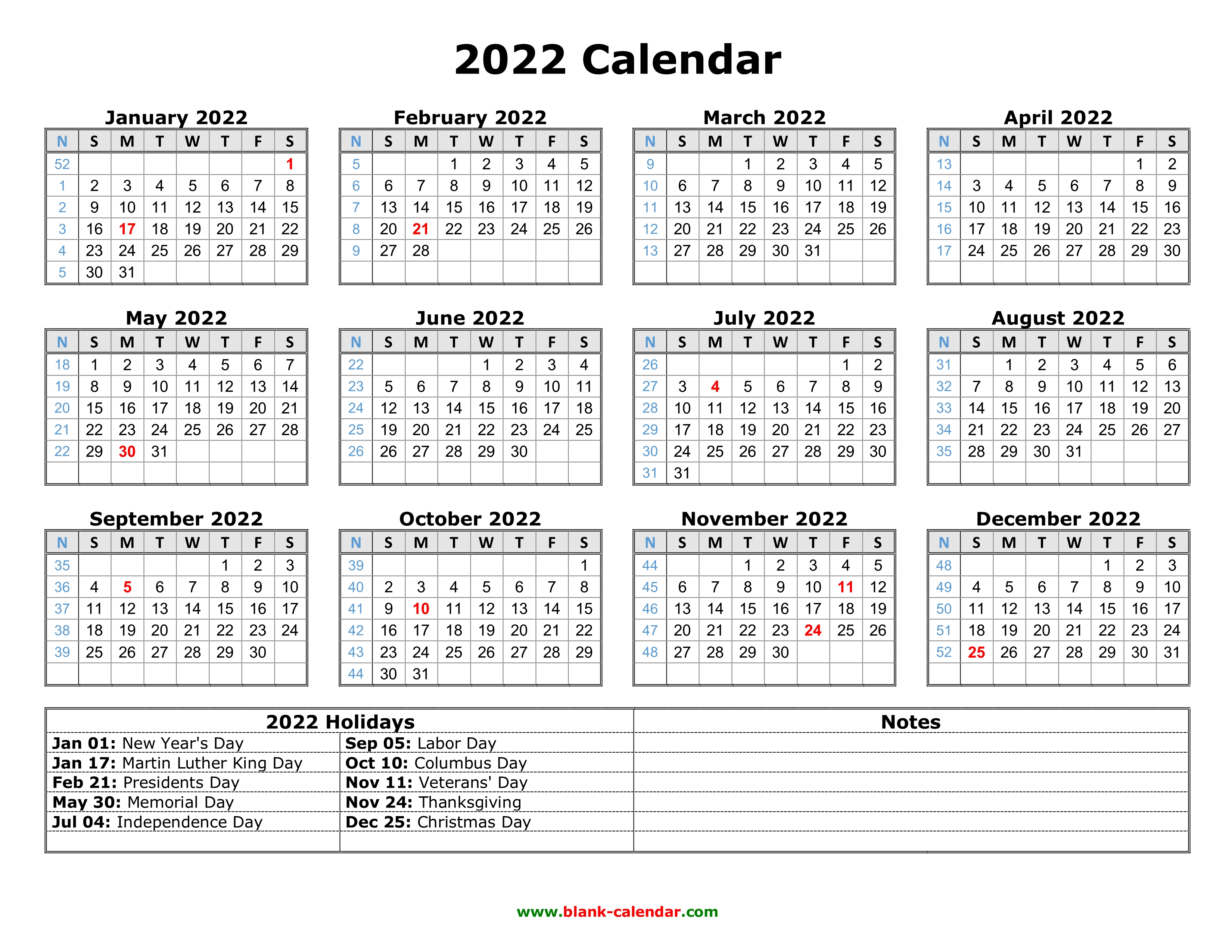 2023 And 2022 Calendar With Holidays.Free Download Printable Calendar 2022 With Us Federal Holidays One Page Horizontal