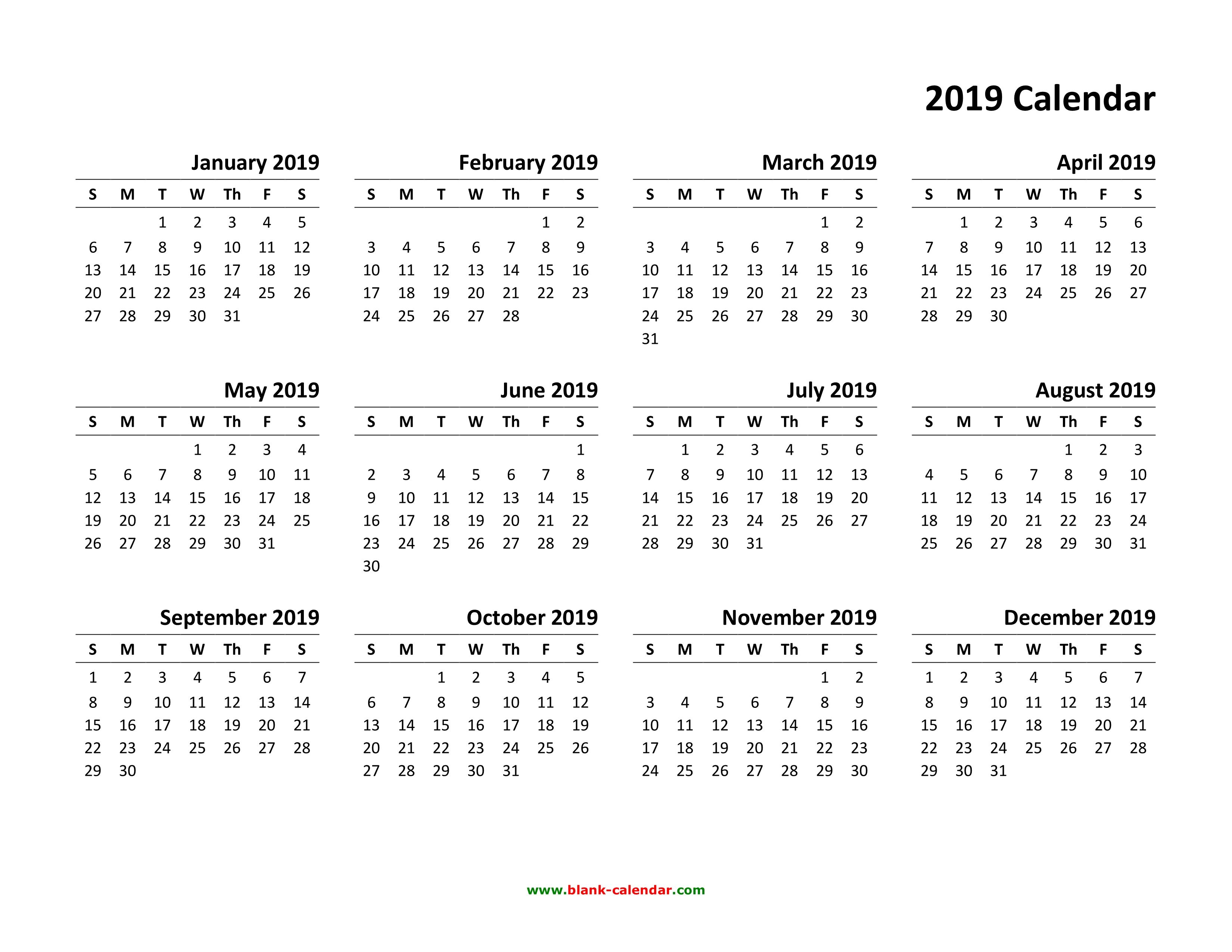 yearly calendar 2019 template 01